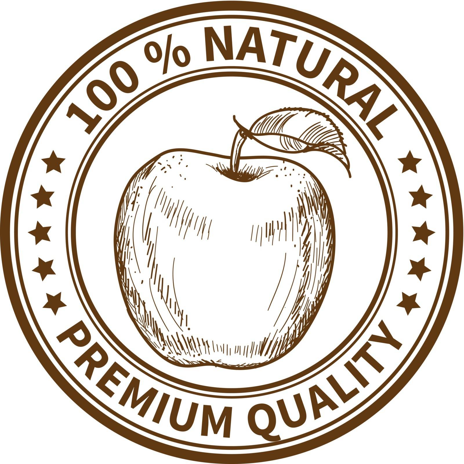 Stamp with the apple and the text 100% natural, premium quality