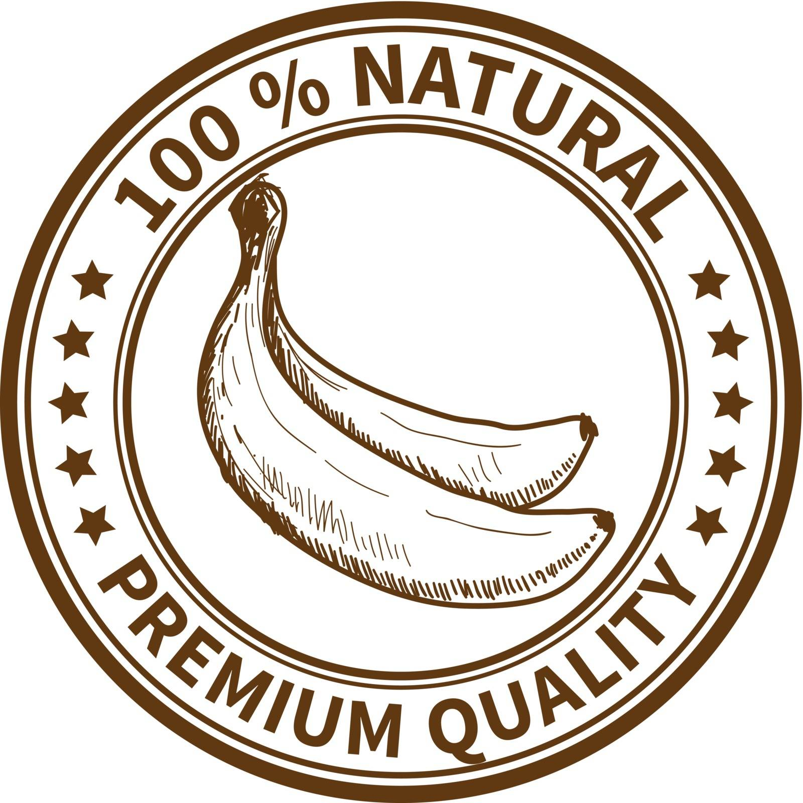 Stamp with the banana and the text 100% natural, premium quality