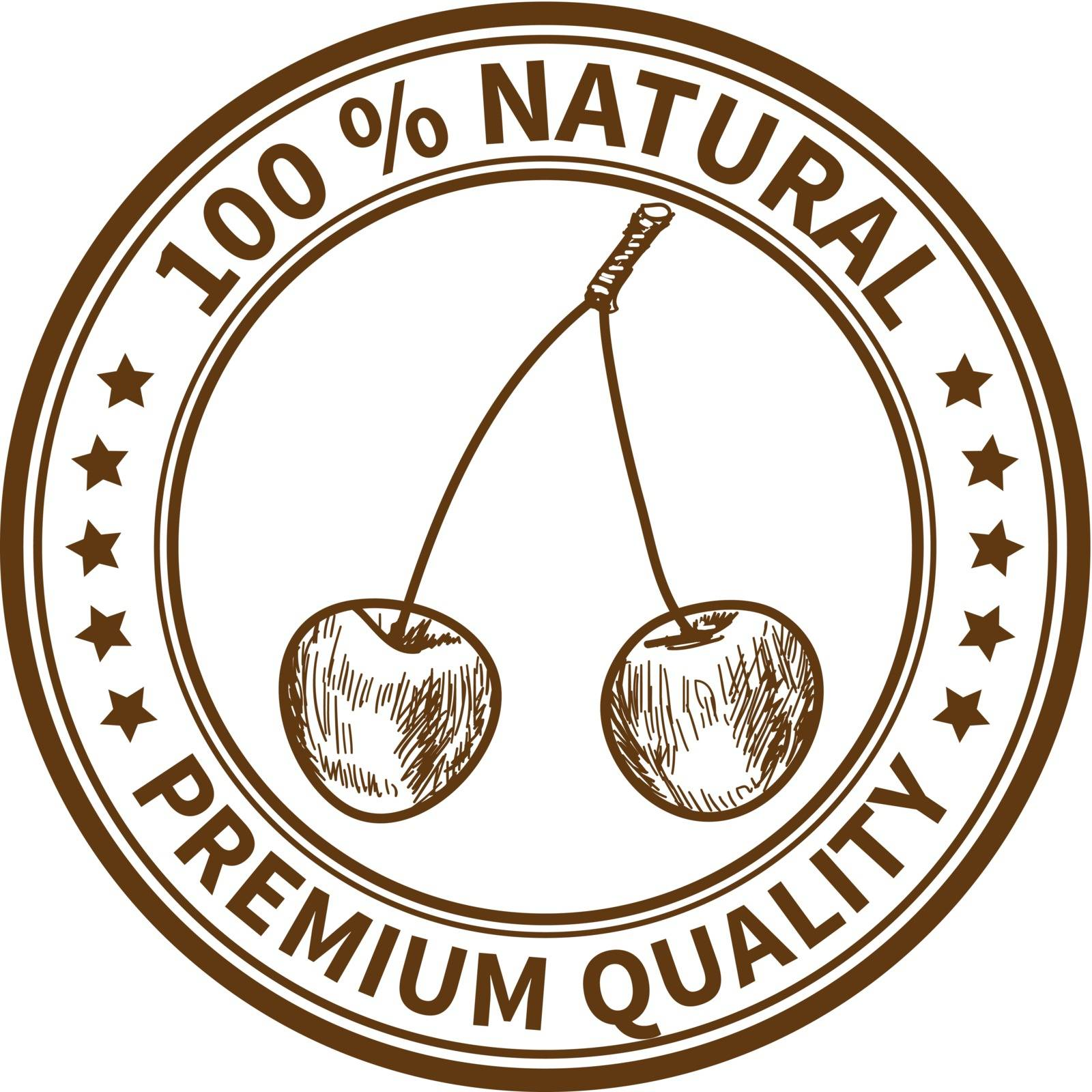 Stamp with the cherry and the text 100% natural, premium quality