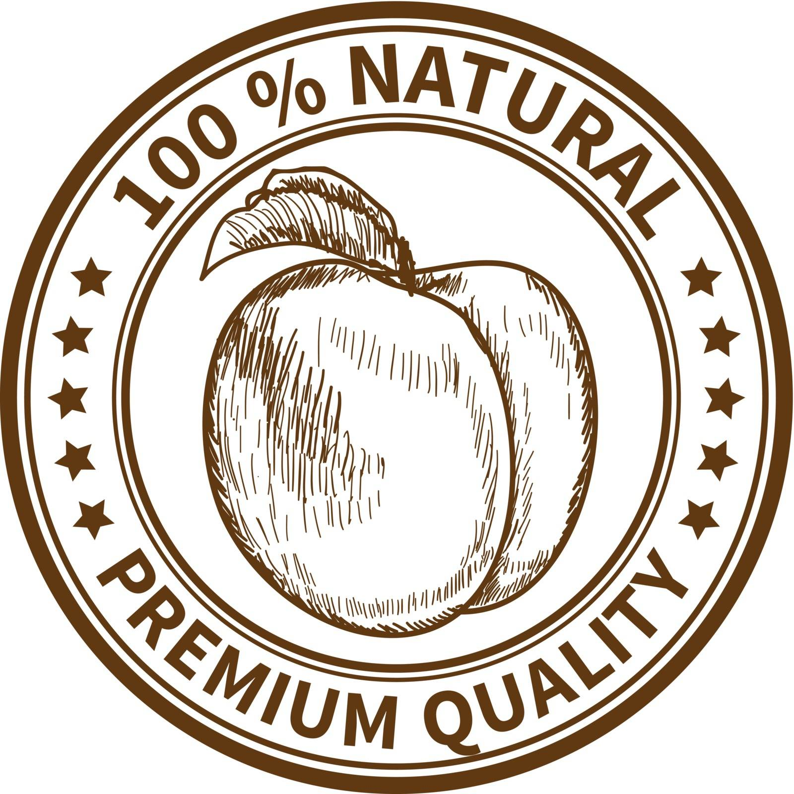 Stamp with the peach and the text 100% natural, premium quality