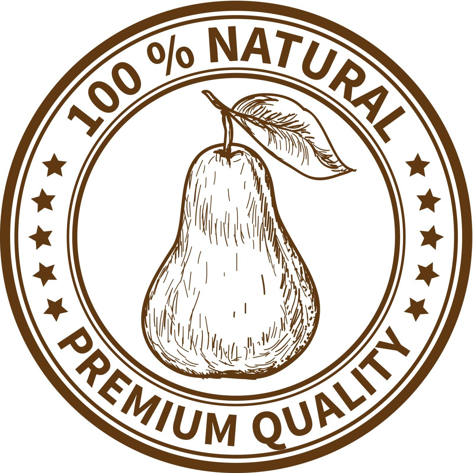 Stamp with the pear and the text 100% natural, premium quality