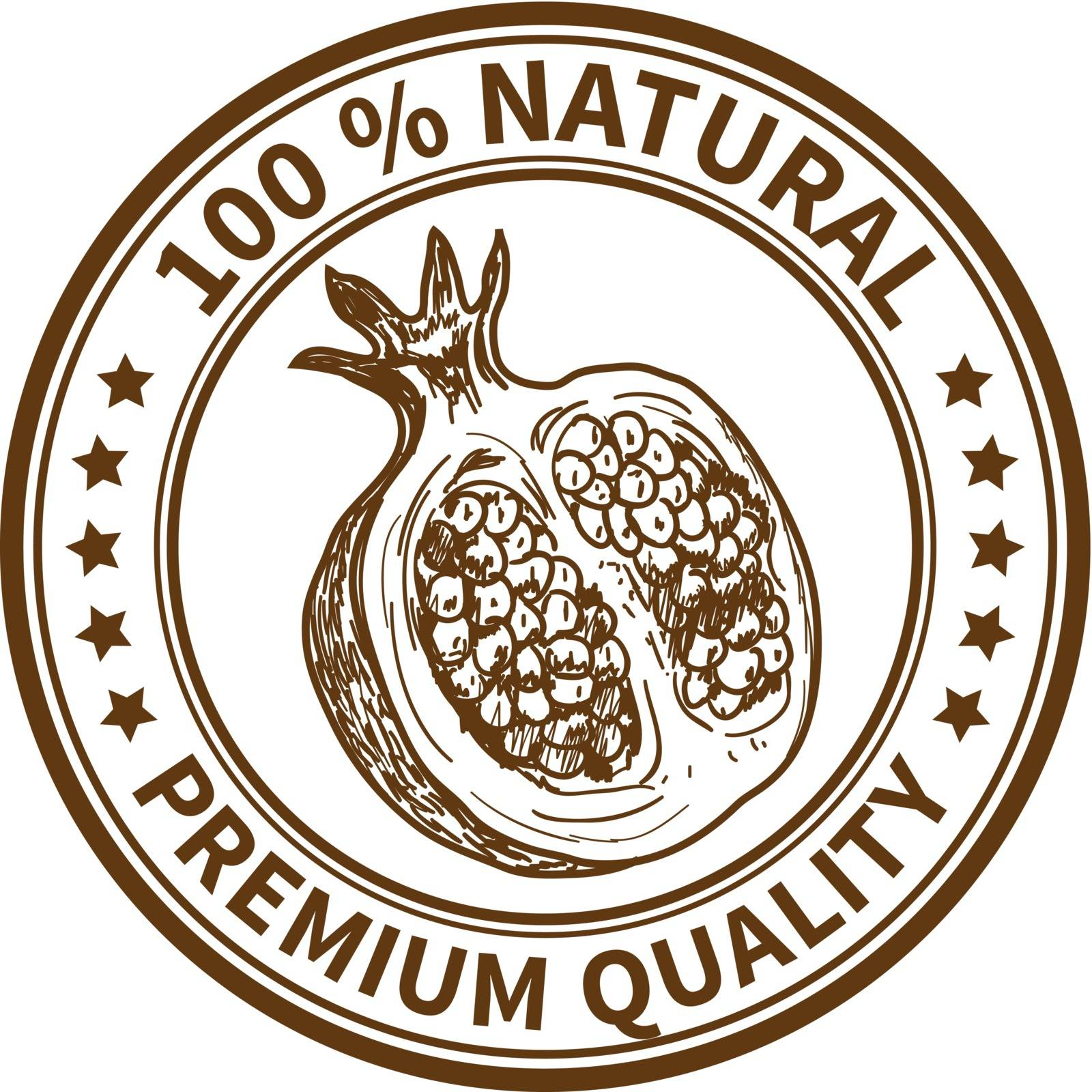 Stamp with the pomegranate and the text 100% natural, premium quality
