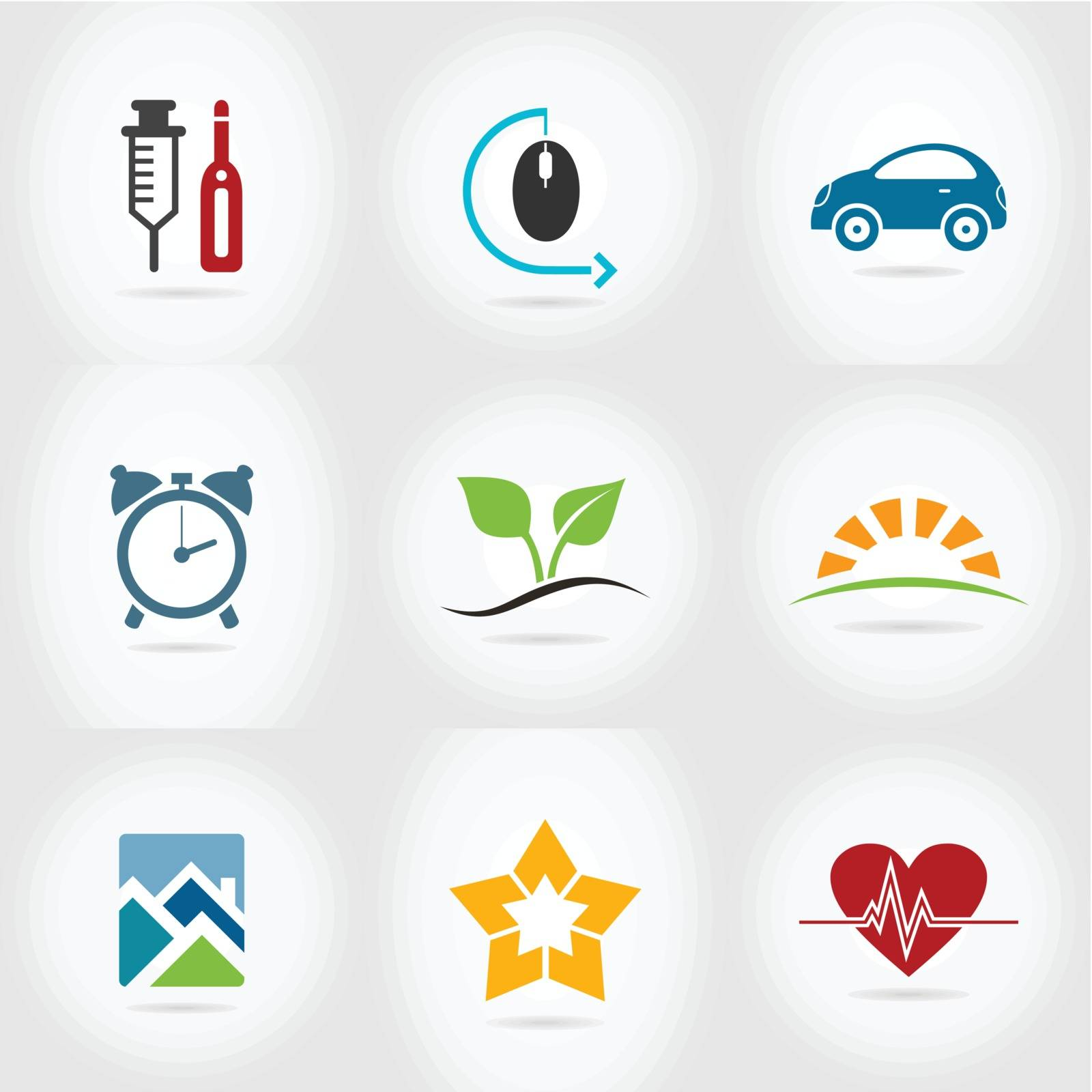 Set of icons for web design. A vector illustration