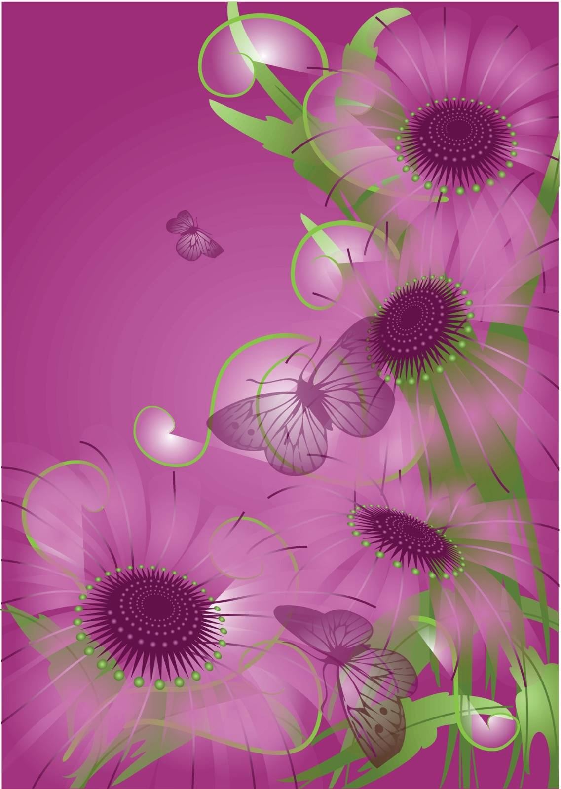 violet background with unusual purple flowers