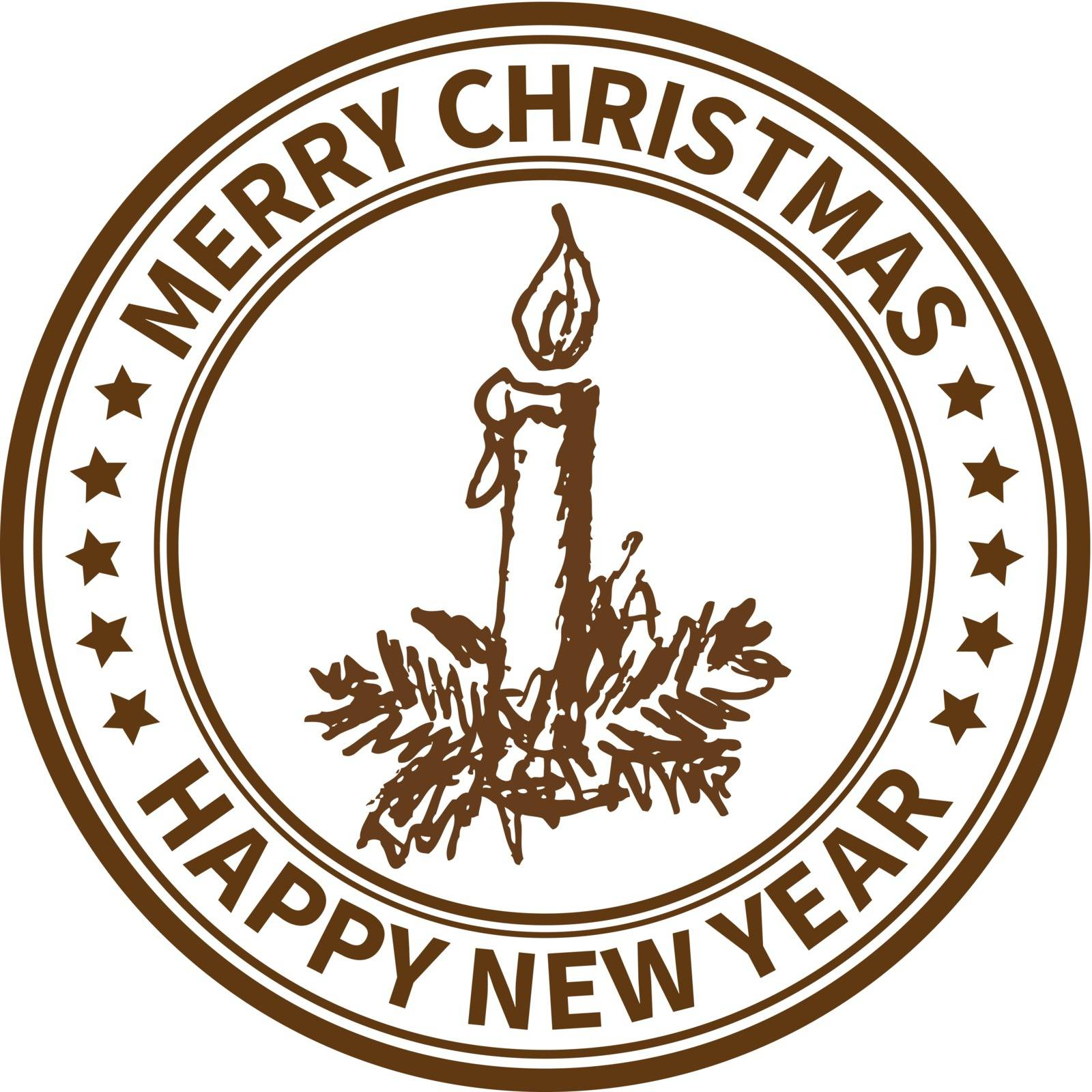 Christmas and New Year stamp with the candle