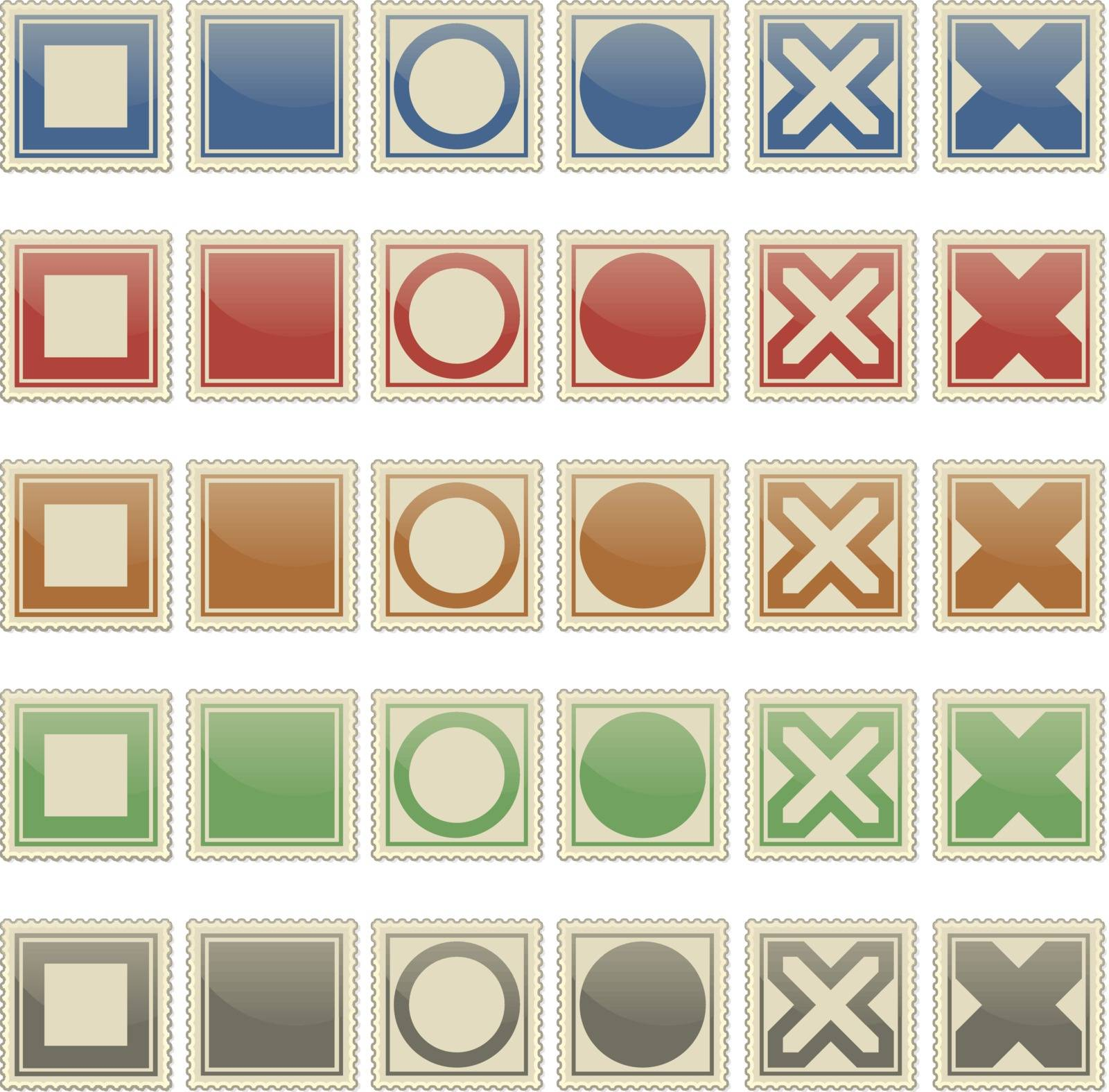 square stamps with different patterns and different colors