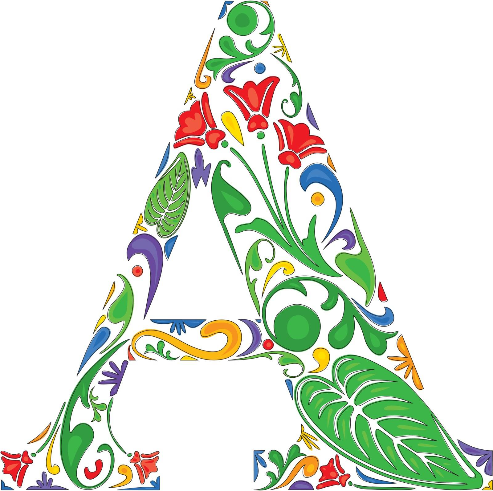 Colorful floral initial capital letter A