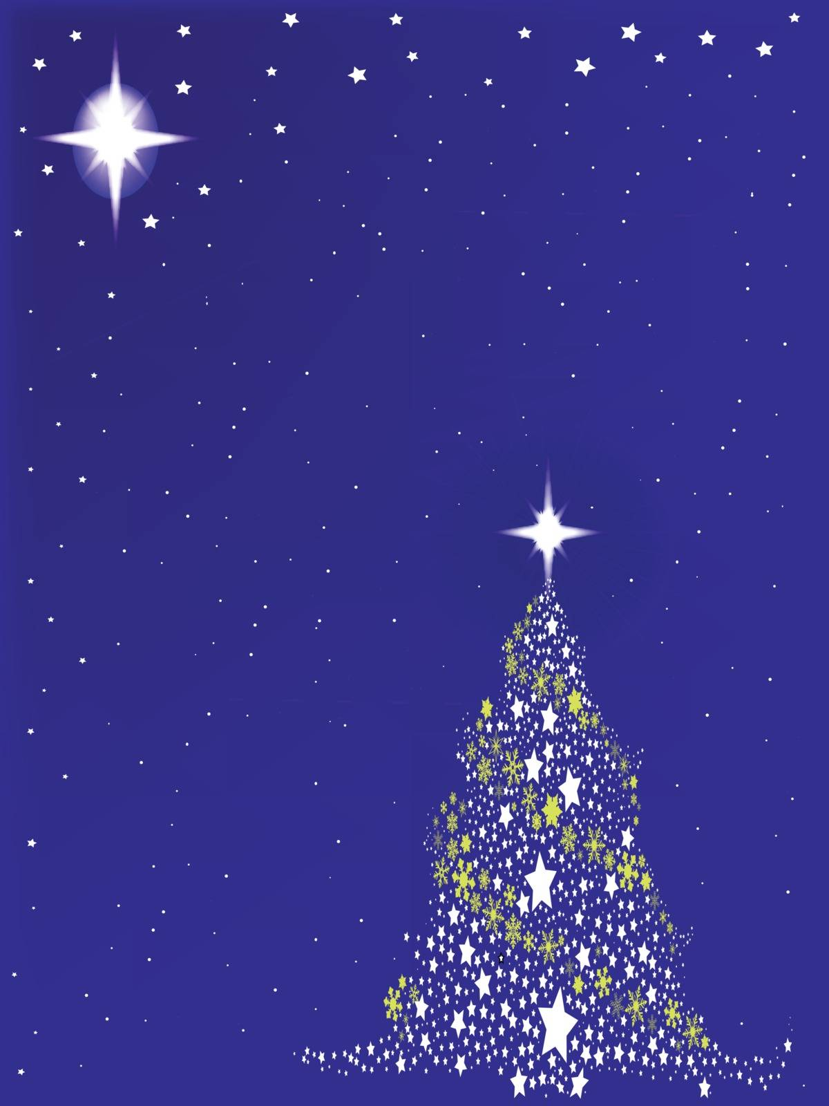 A blue Christmas card backdrop with tree and stars.