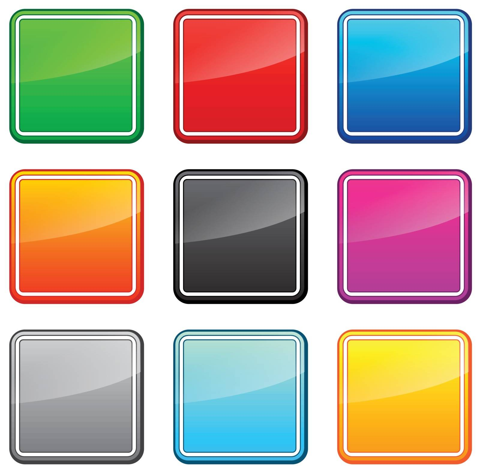 Set of square web buttons in different colors