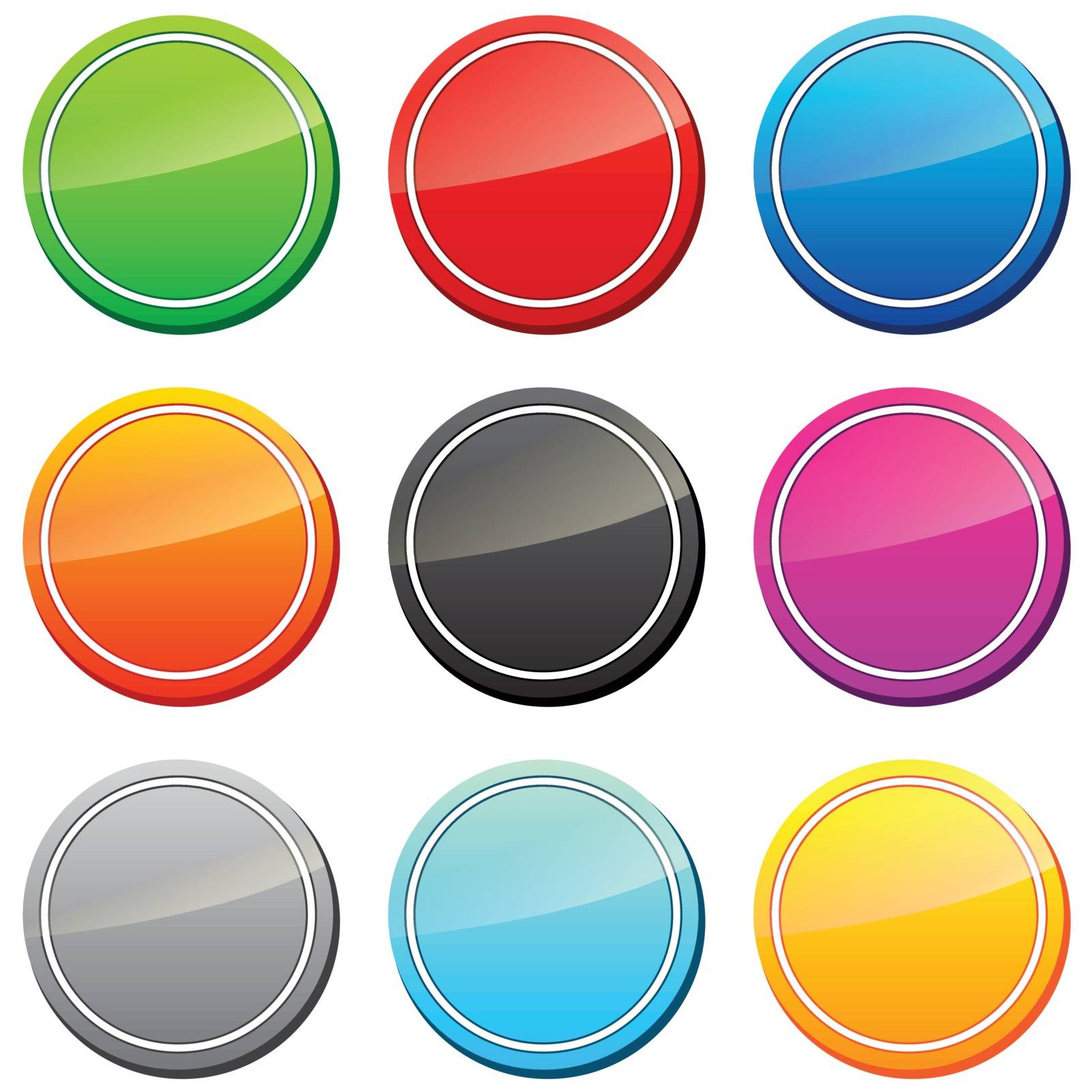 Set of icons in different colors