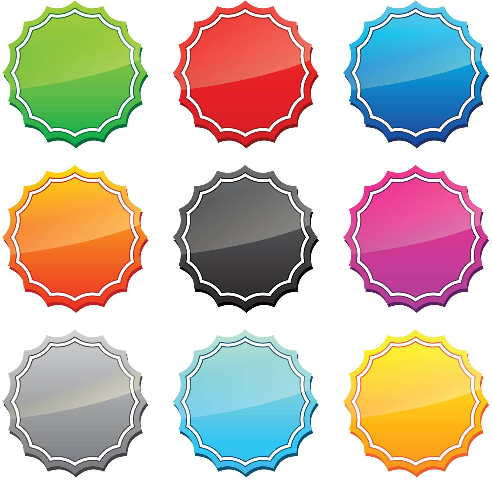 Set of star icons in different colors