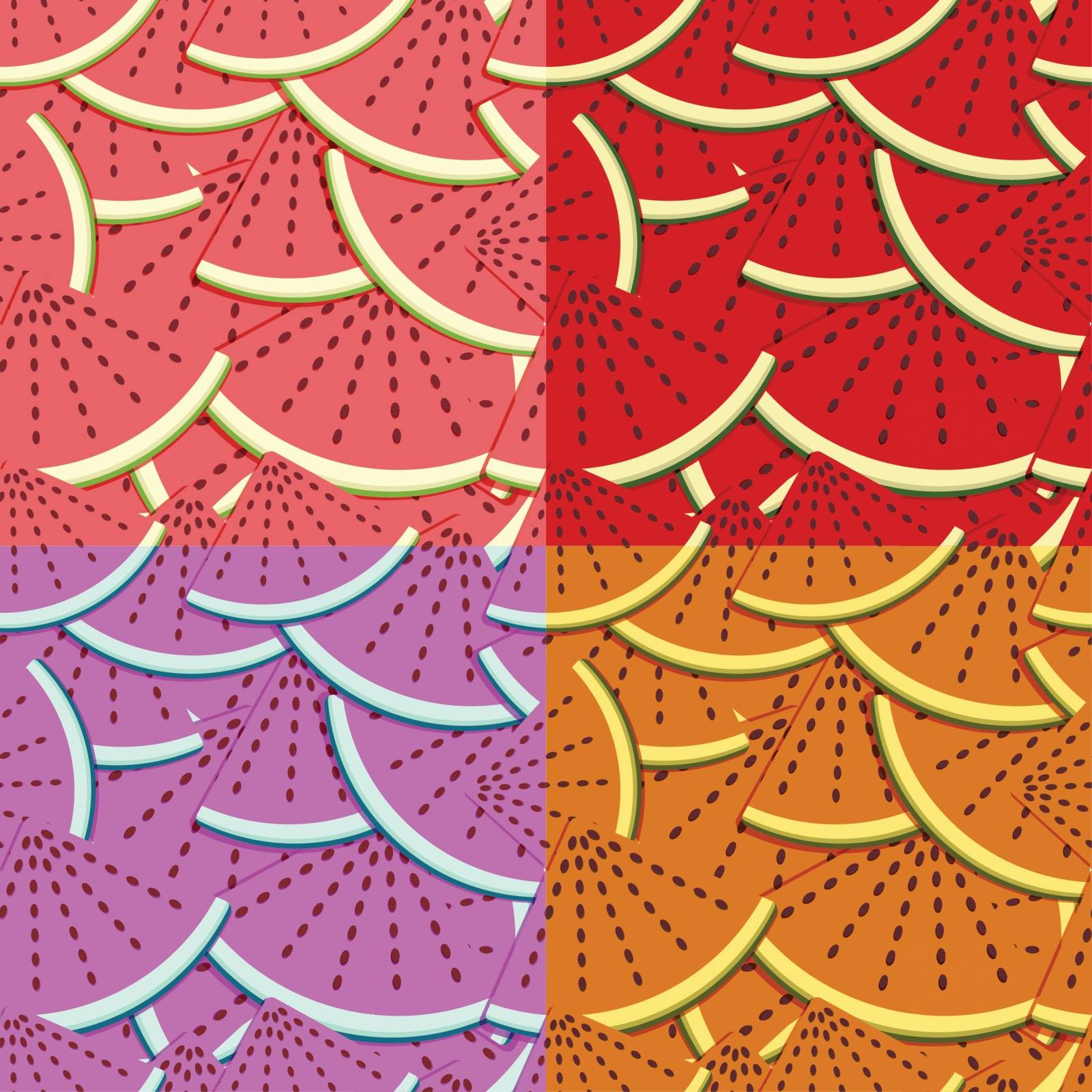 set of four colorful seamless backgrounds with sliced ������watermelon