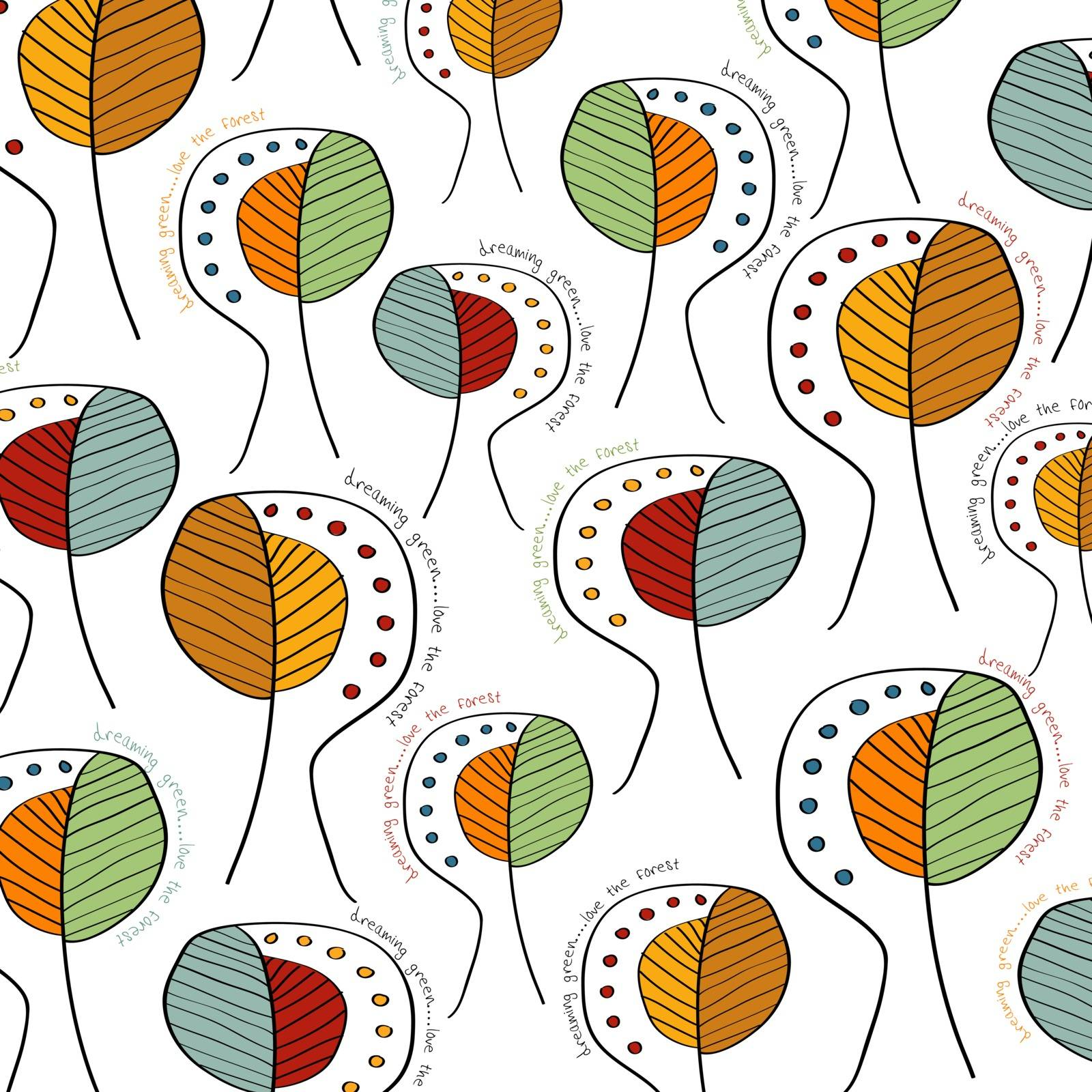 seamless background with trees, vector format