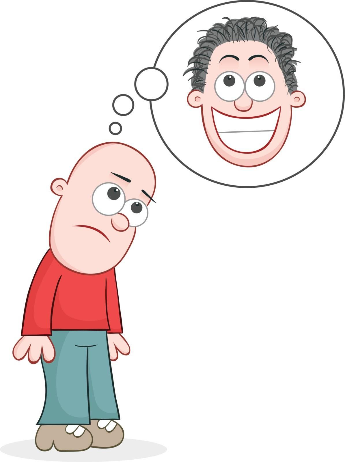 Cartoon bald man sad and dreaming of growing hair.