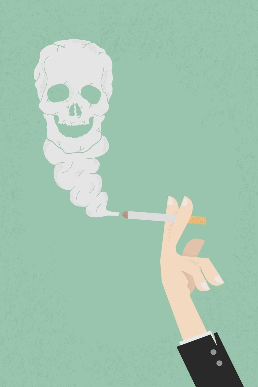 Smoking dangerous cigarette with toxic skull smoke  , eps10 vector format