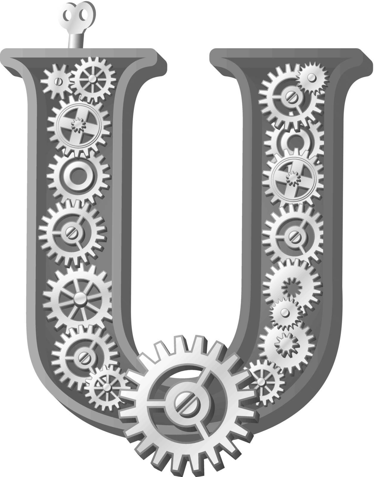 Mechanical alphabet made from gears. Letter u