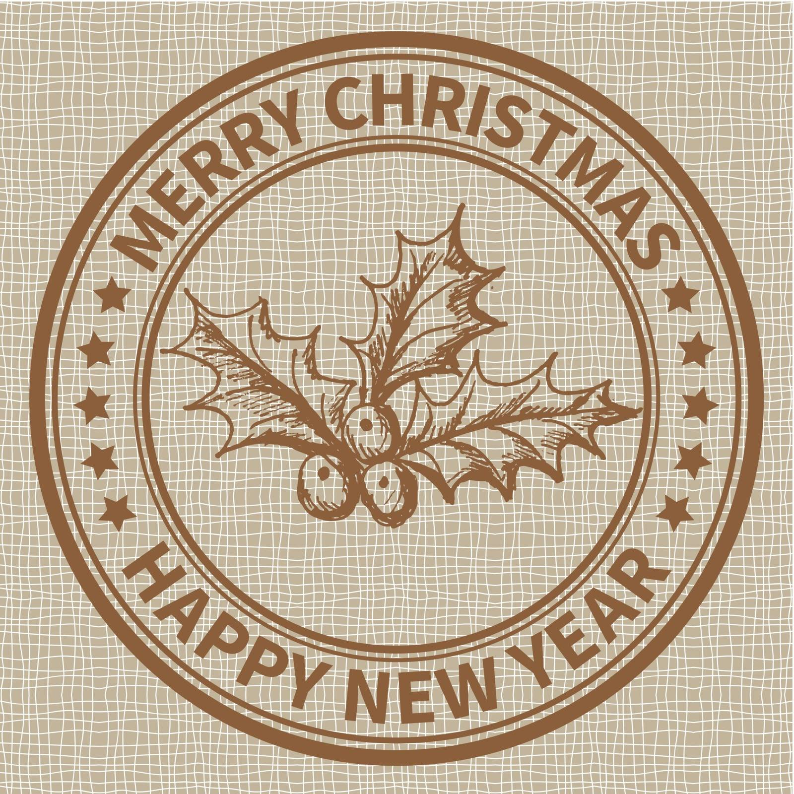 Christmas and New Year stamp with the holly barry