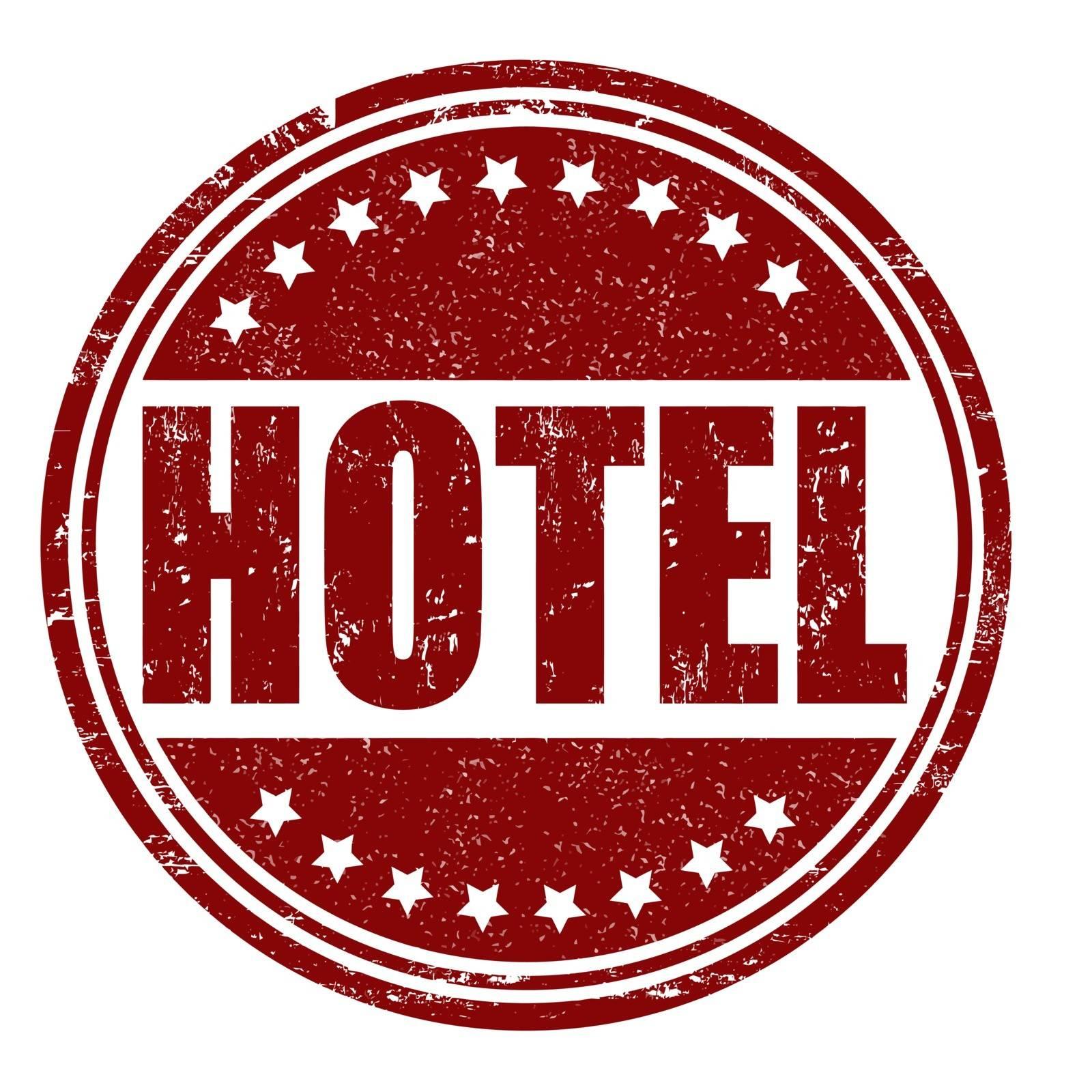 Hotel grunge rubber stamp on white, vector illustration