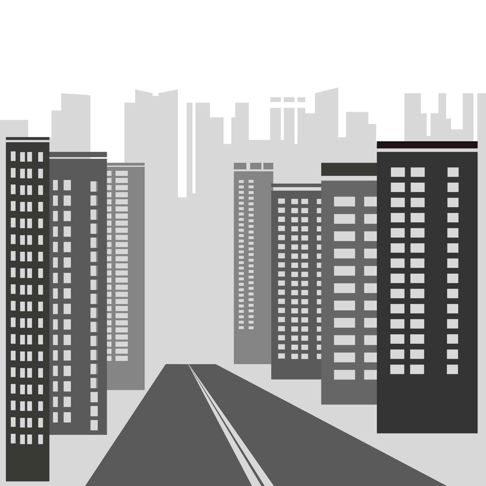 illustration with  gray skyscrapers for your design