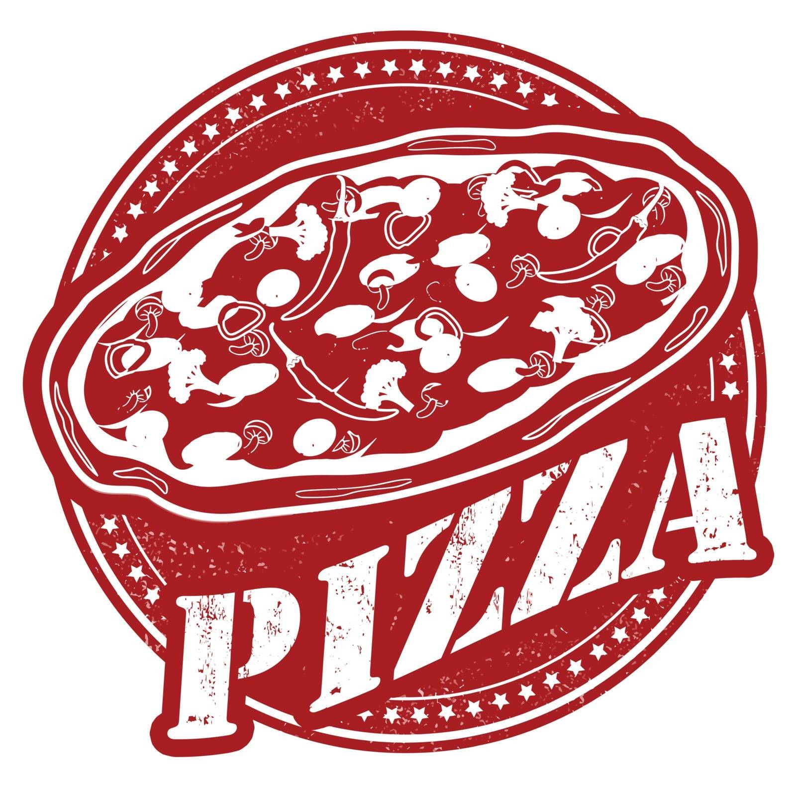 Pizza vintage sign on white background, vector illustration