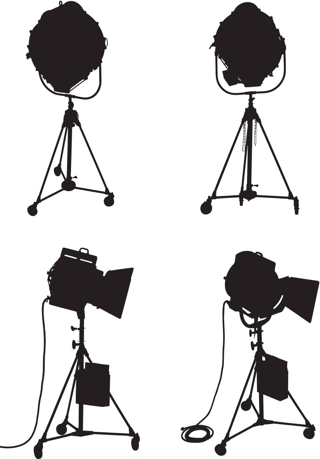 Set of four professional lighting equipment silhouettes