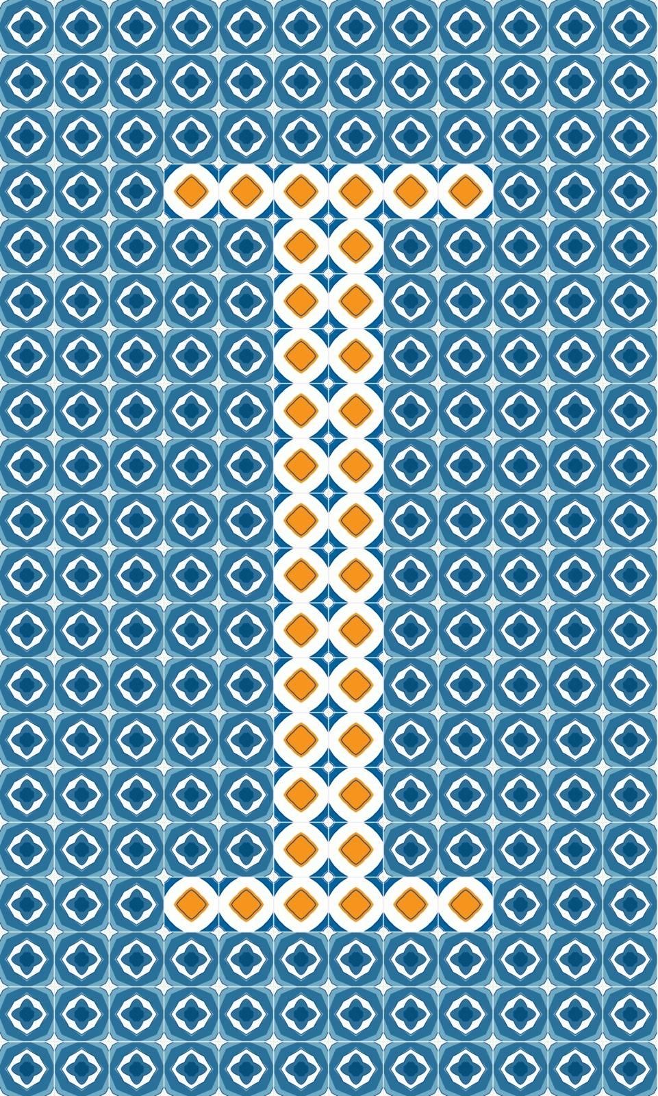 Capital letter I made of Portuguese tiles