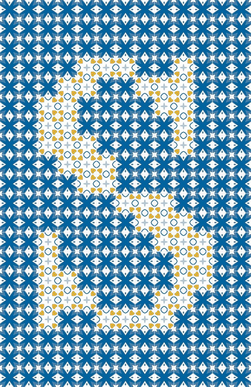 Capital letter S made of Portuguese tiles
