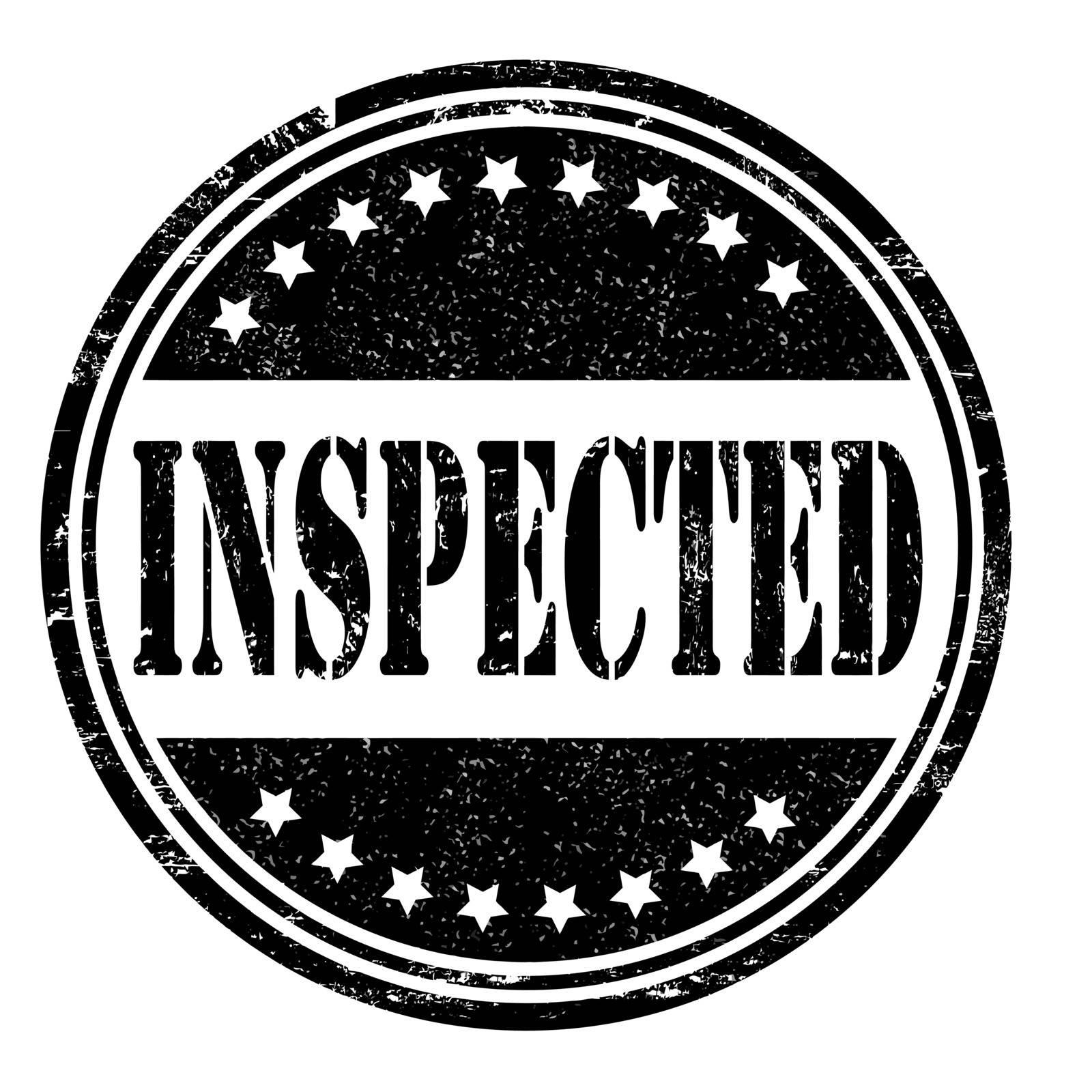 Inspected grunge rubber stamp on white, vector illustration