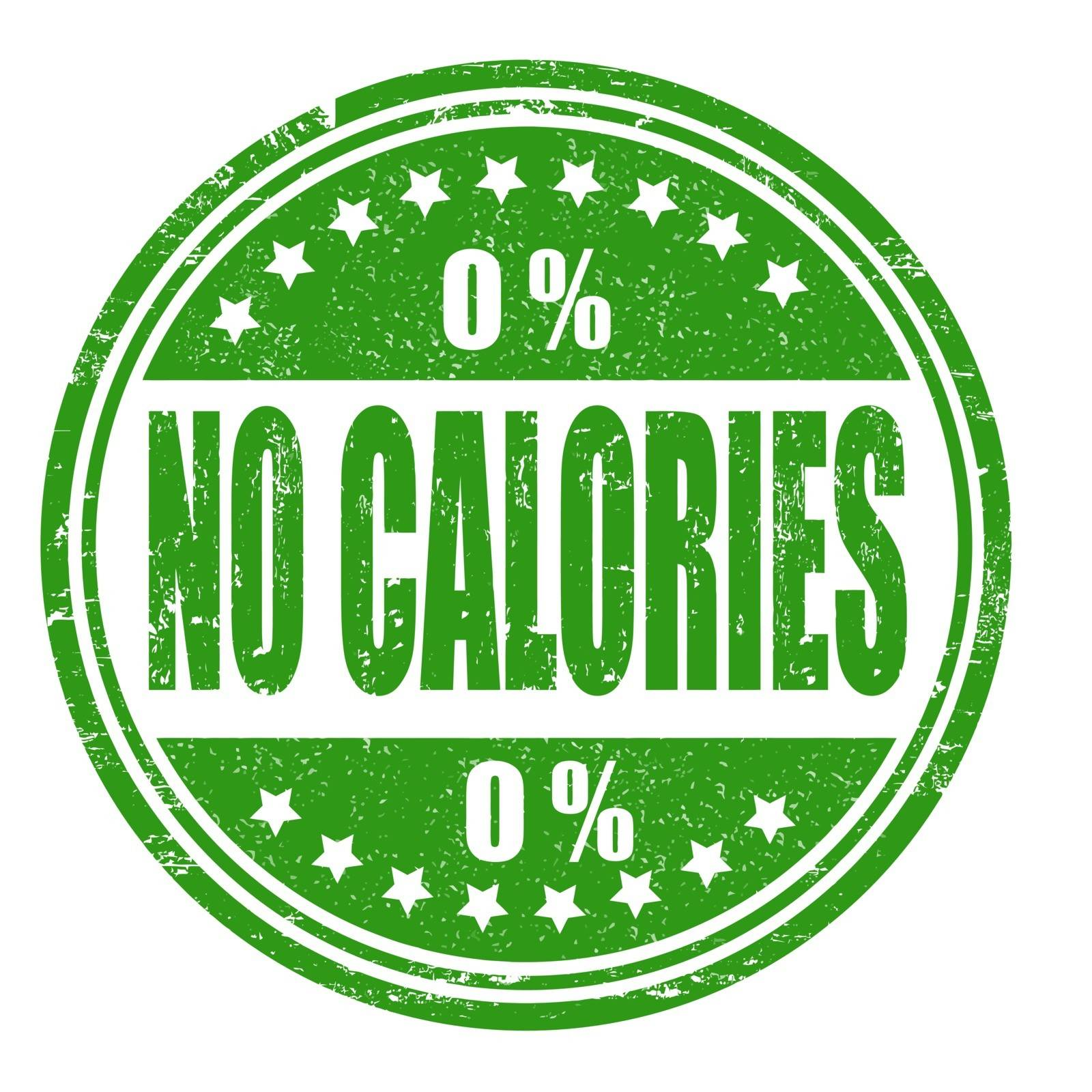 No calories grunge rubber stamp on white, vector illustration