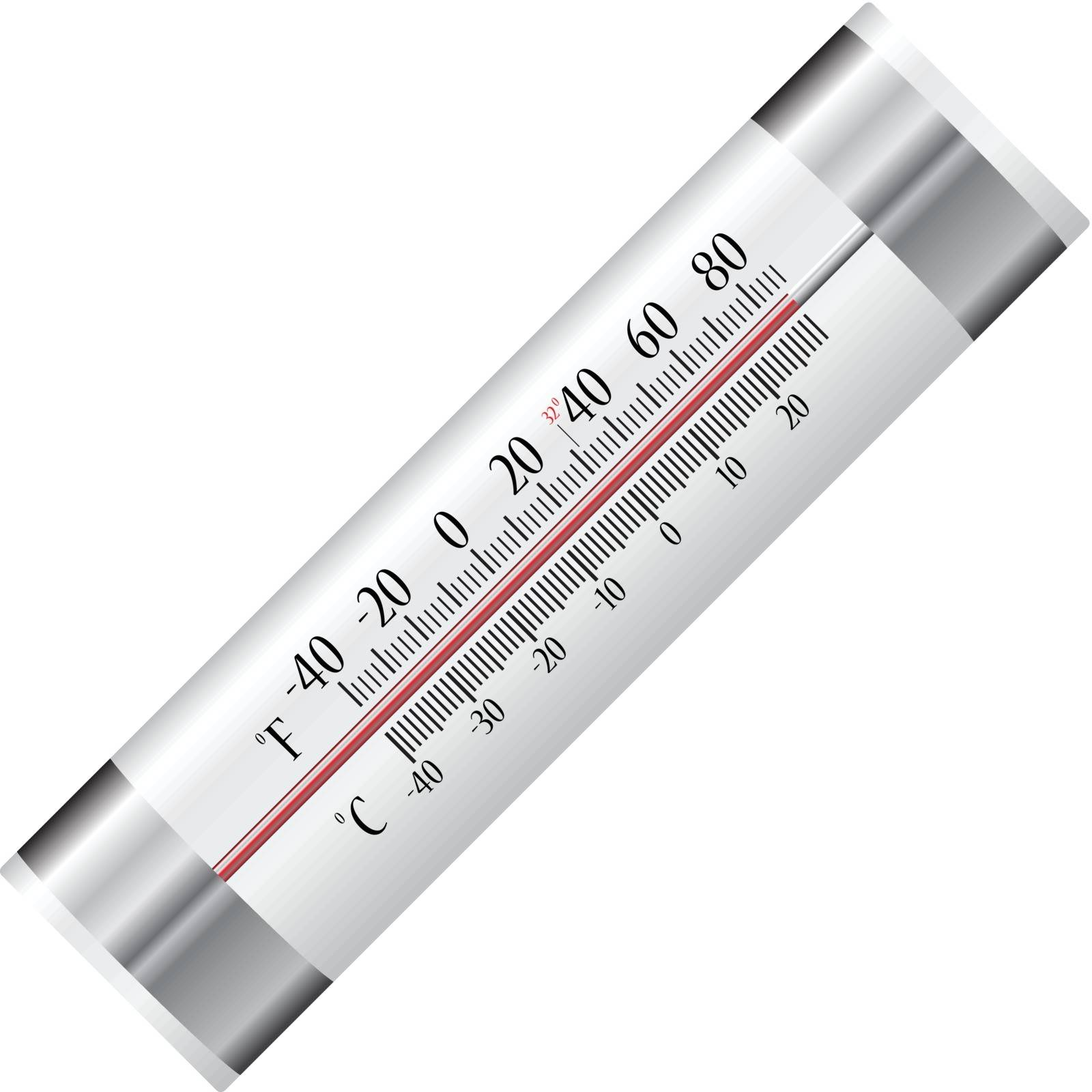 Alcohol thermometer for refrigerator with two scales in Celsius and Fahrenheit. Vector illustration.