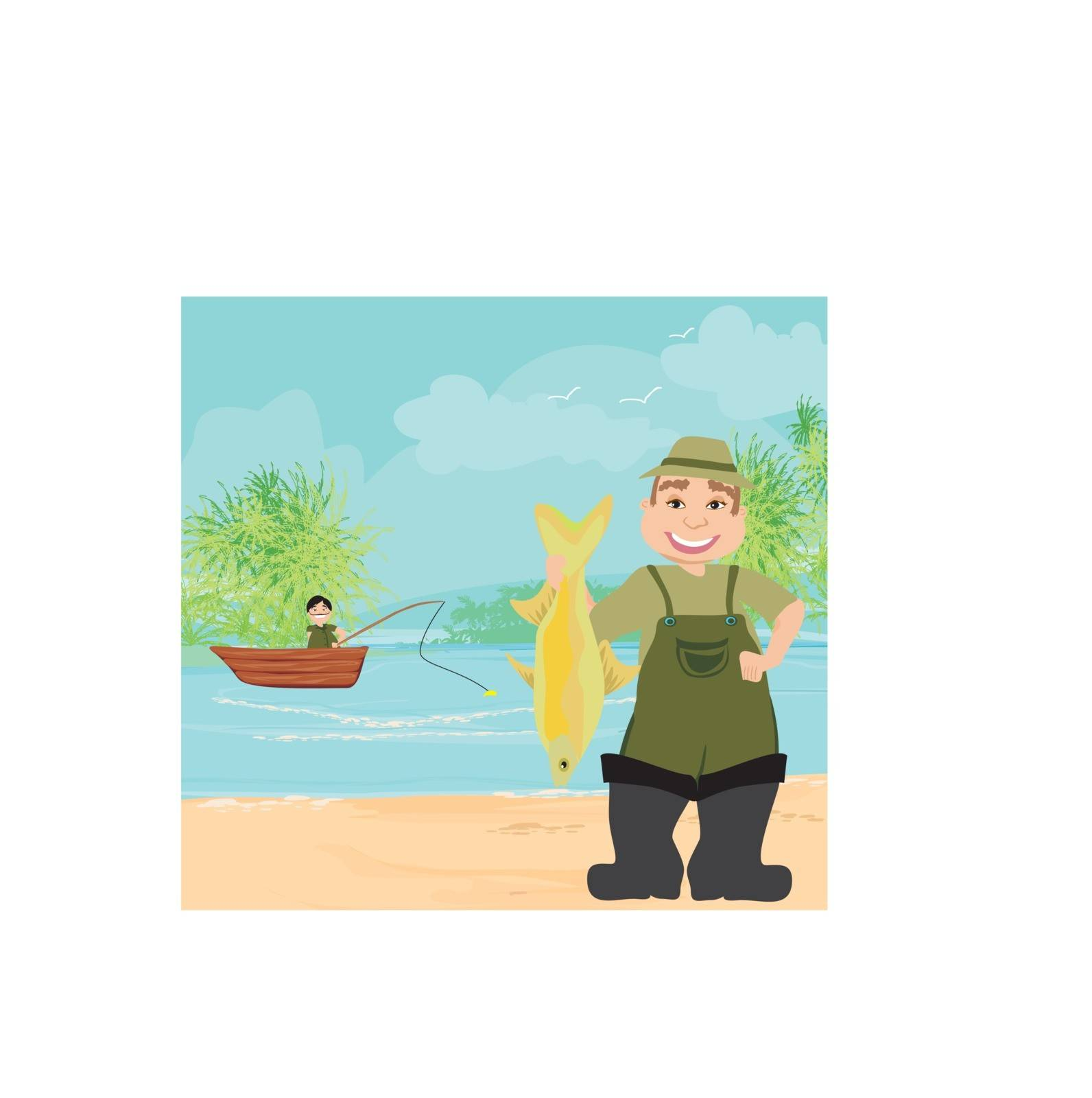 fisherman and fishing boat