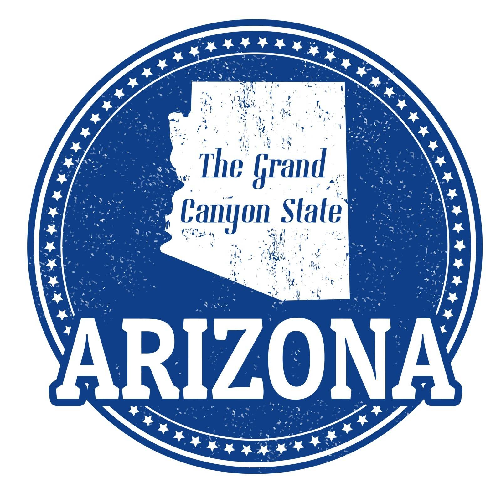 Vintage stamp with text The Grand Canyon State written inside and map of Arizona, vector illustration