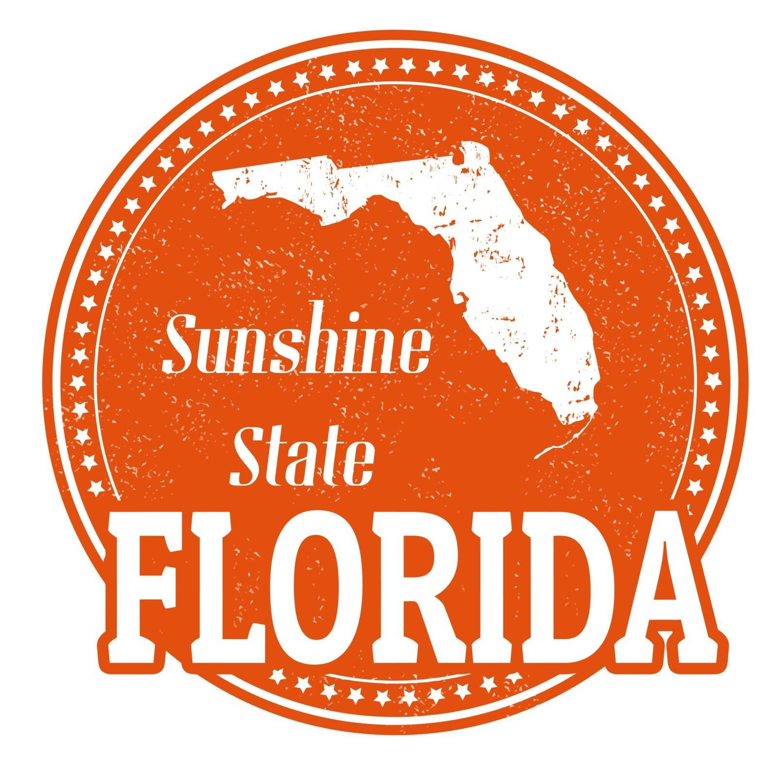 Vintage stamp with text Sunshine State written inside and map of Florida, vector illustration