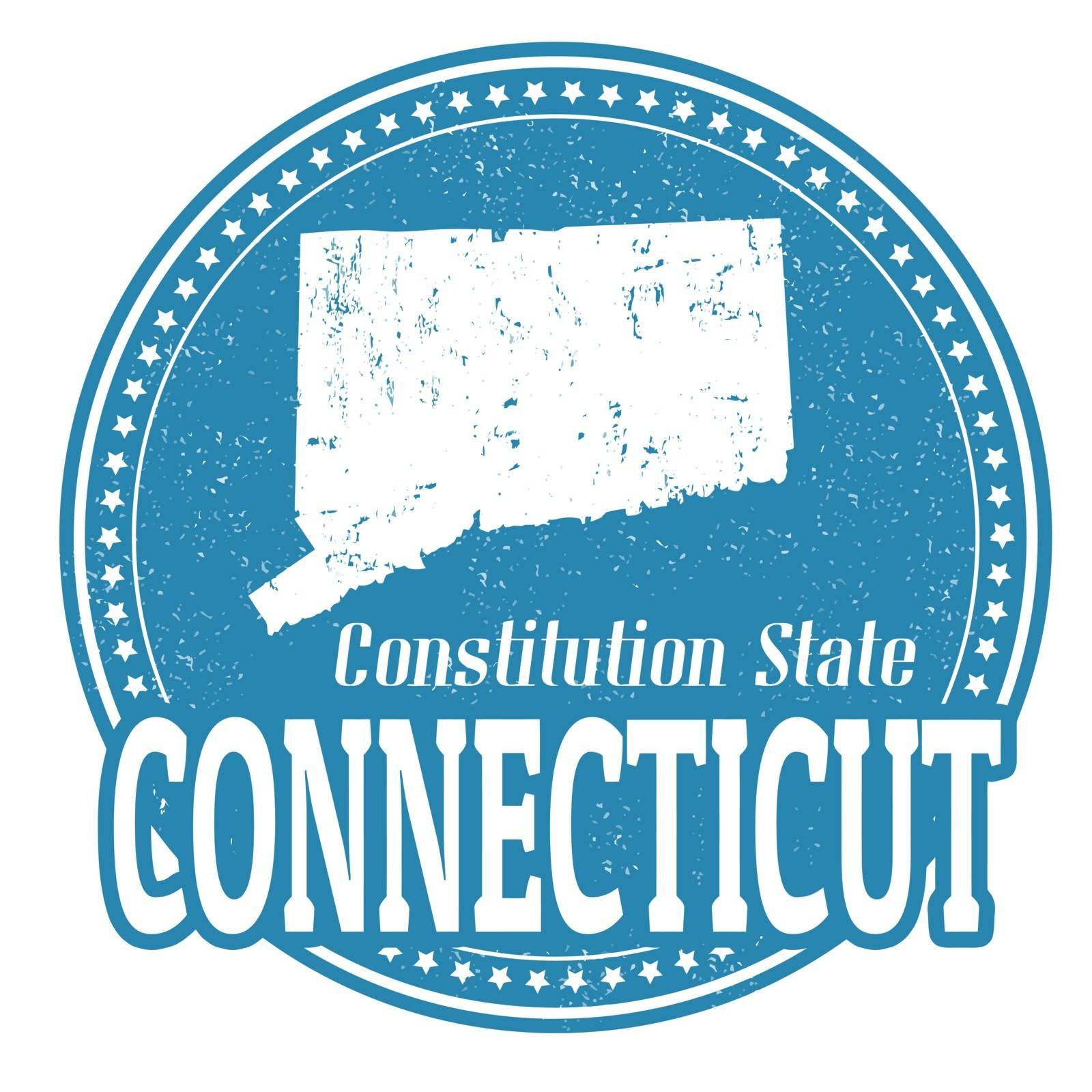 Vintage stamp with text Constitution State written inside and map of Connecticut, vector illustration