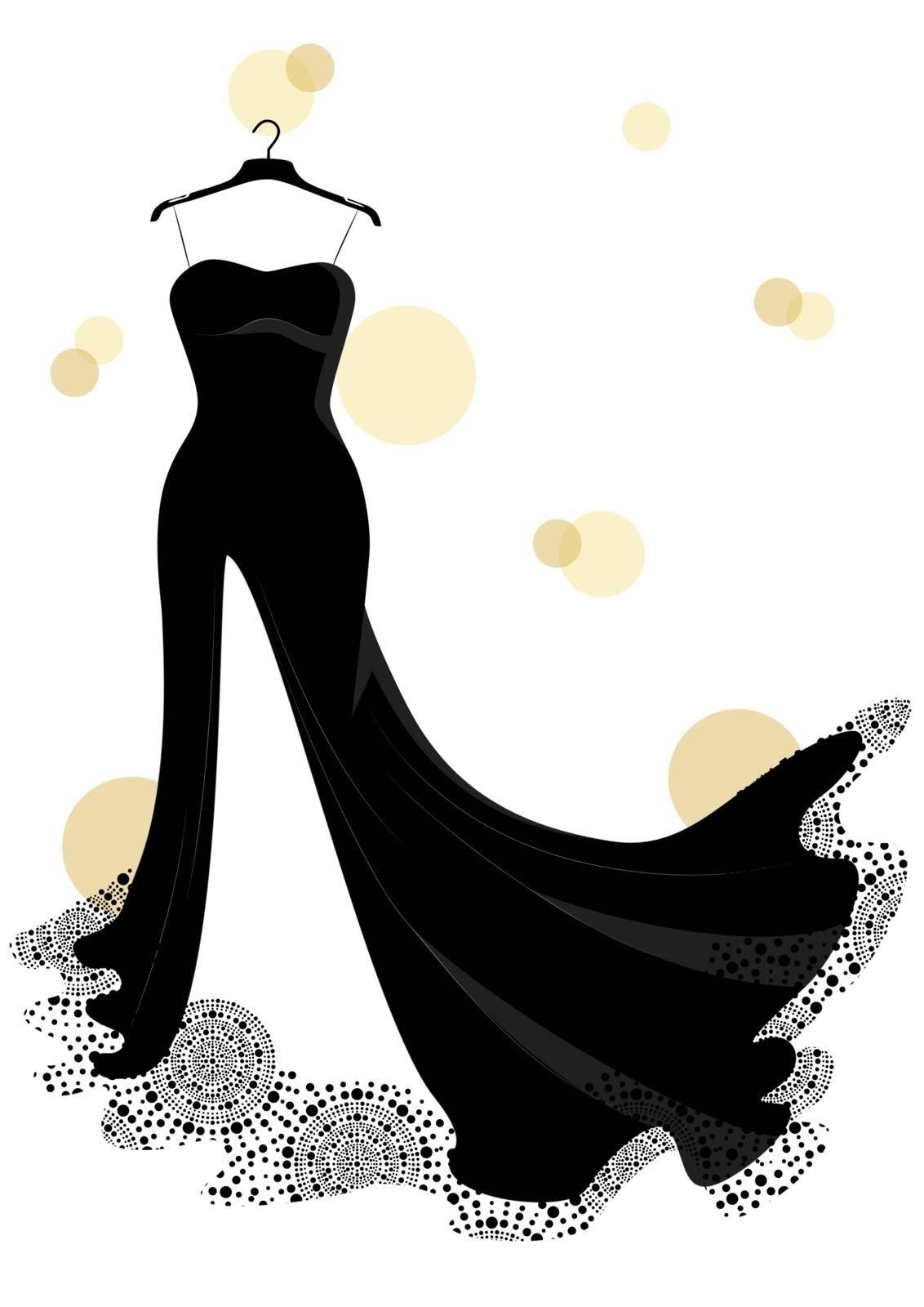 beautiful black dress isolated on white background