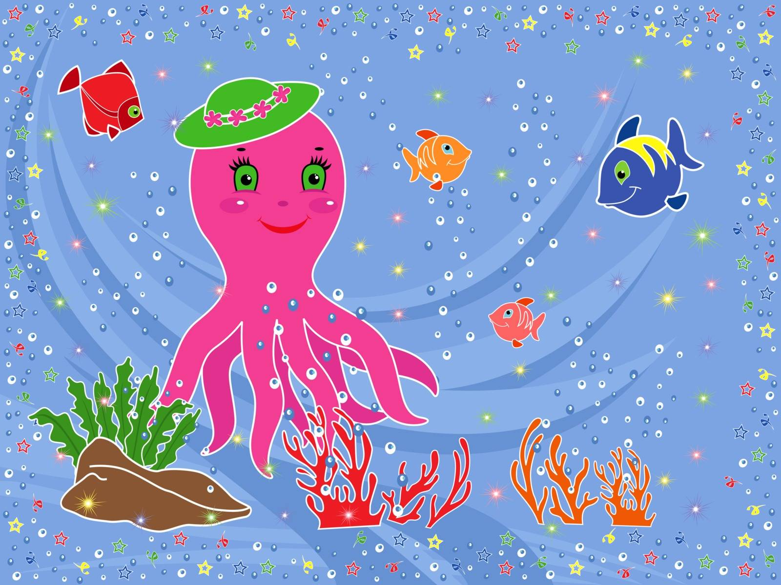 Underwater marine life. Funny Octopus, fishes, coral and seaweed on the seabed. Hand drawing vector illustration