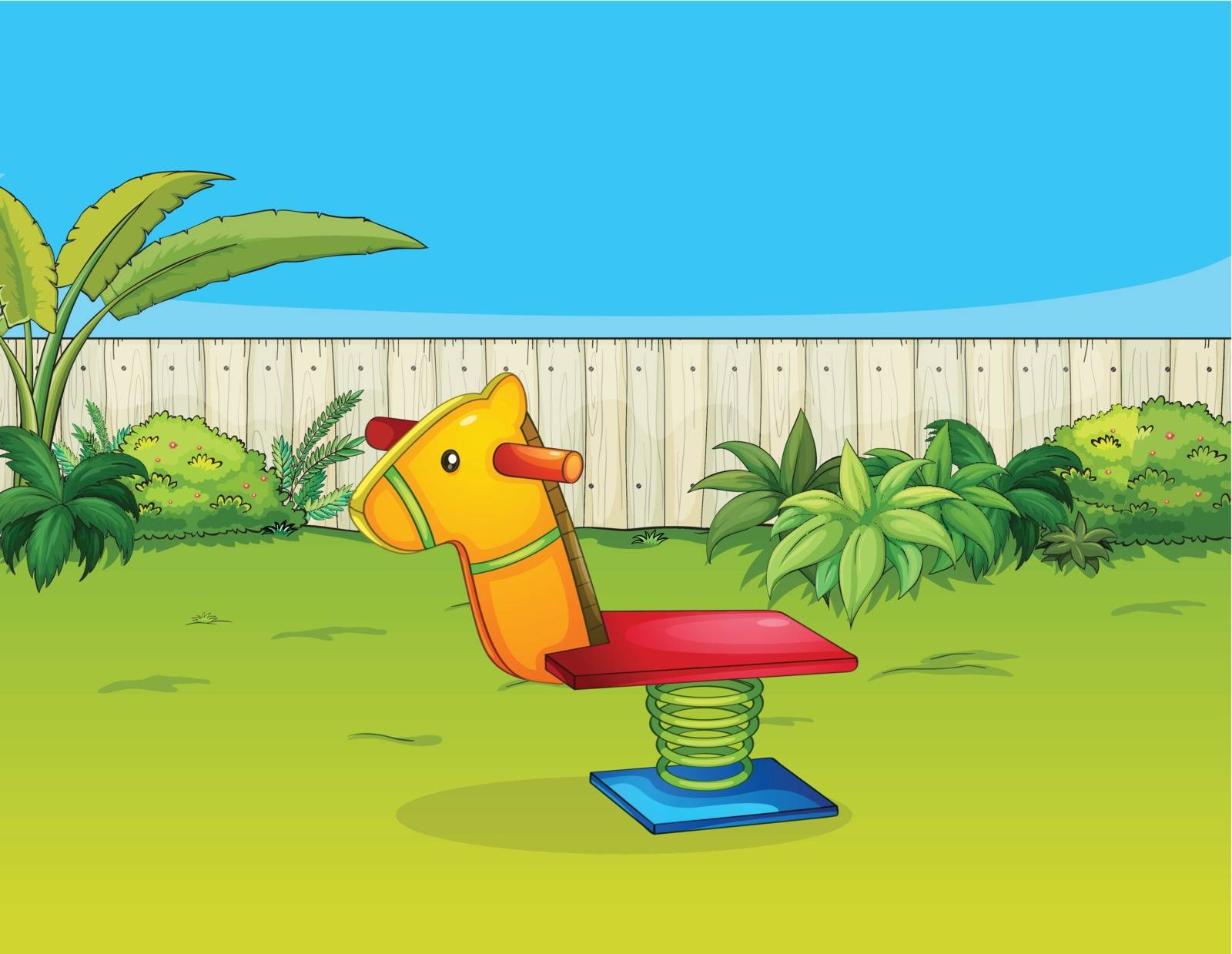 Illustration of a horse playing equipment in a beautiful garden
