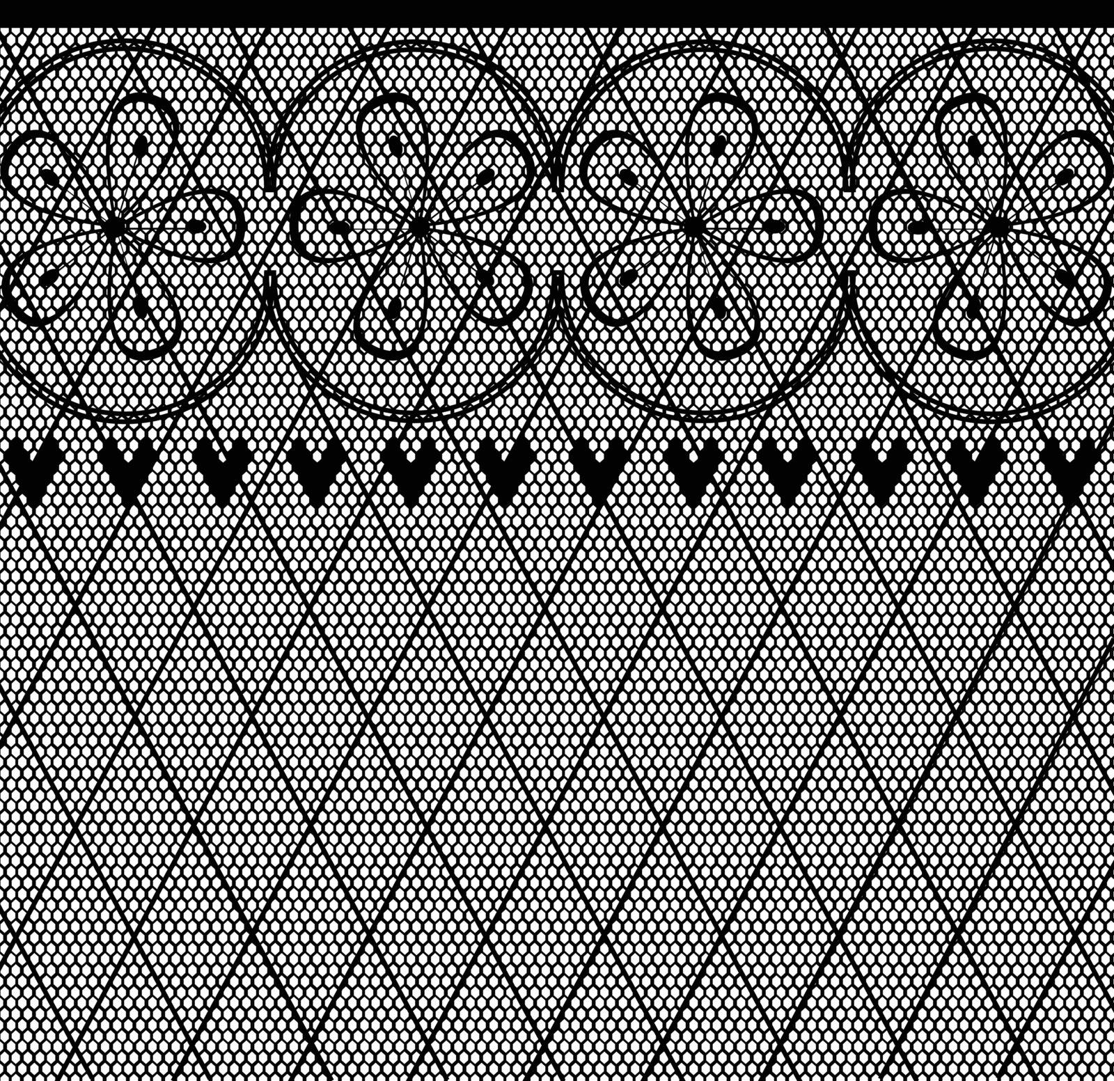 A lace stocking background in a fishnet style with hearts and flowers