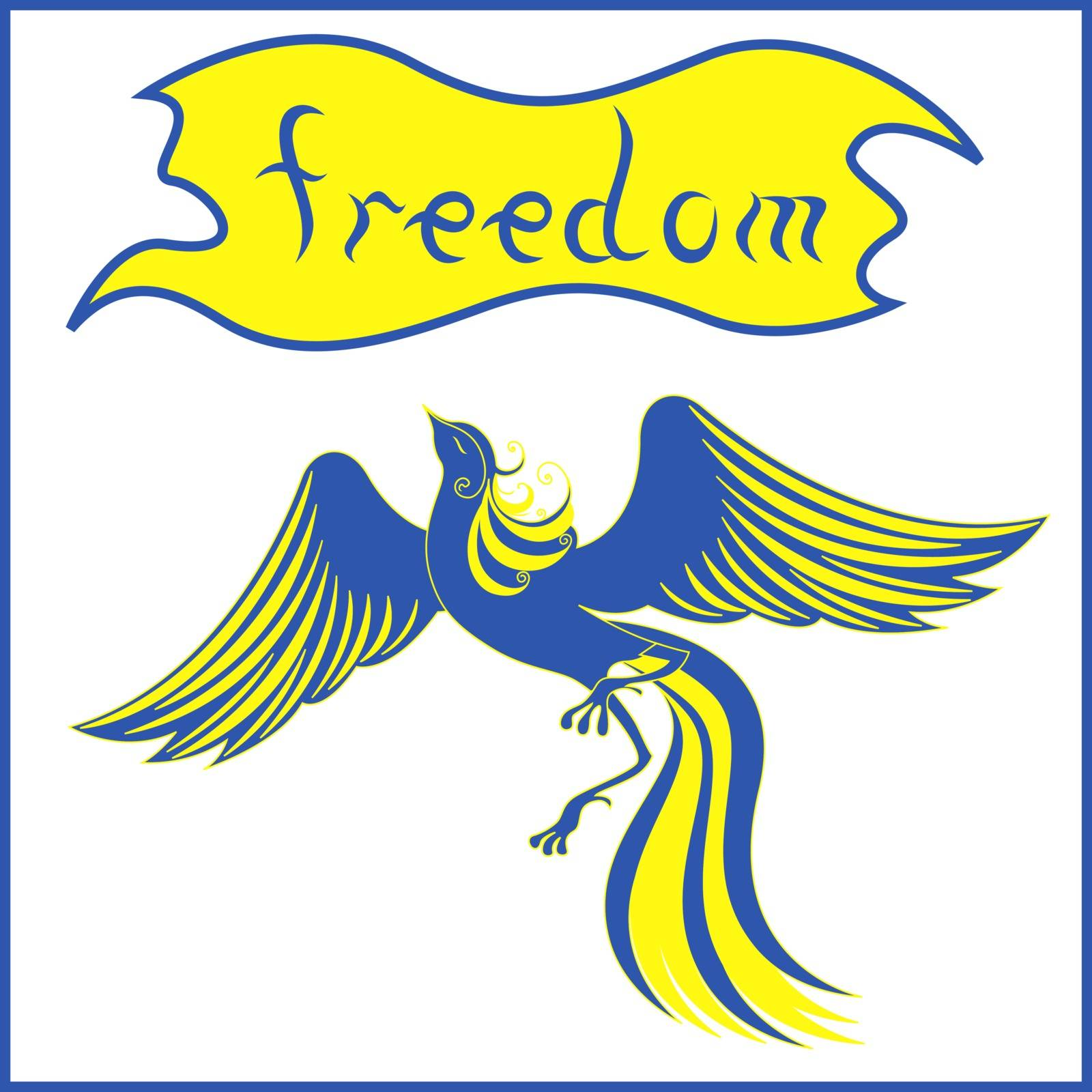 Graceful bird Phoenix that symbolizing a freedom in blue and yellow national flag colors of Ukraine. Hand drawing vector illustration