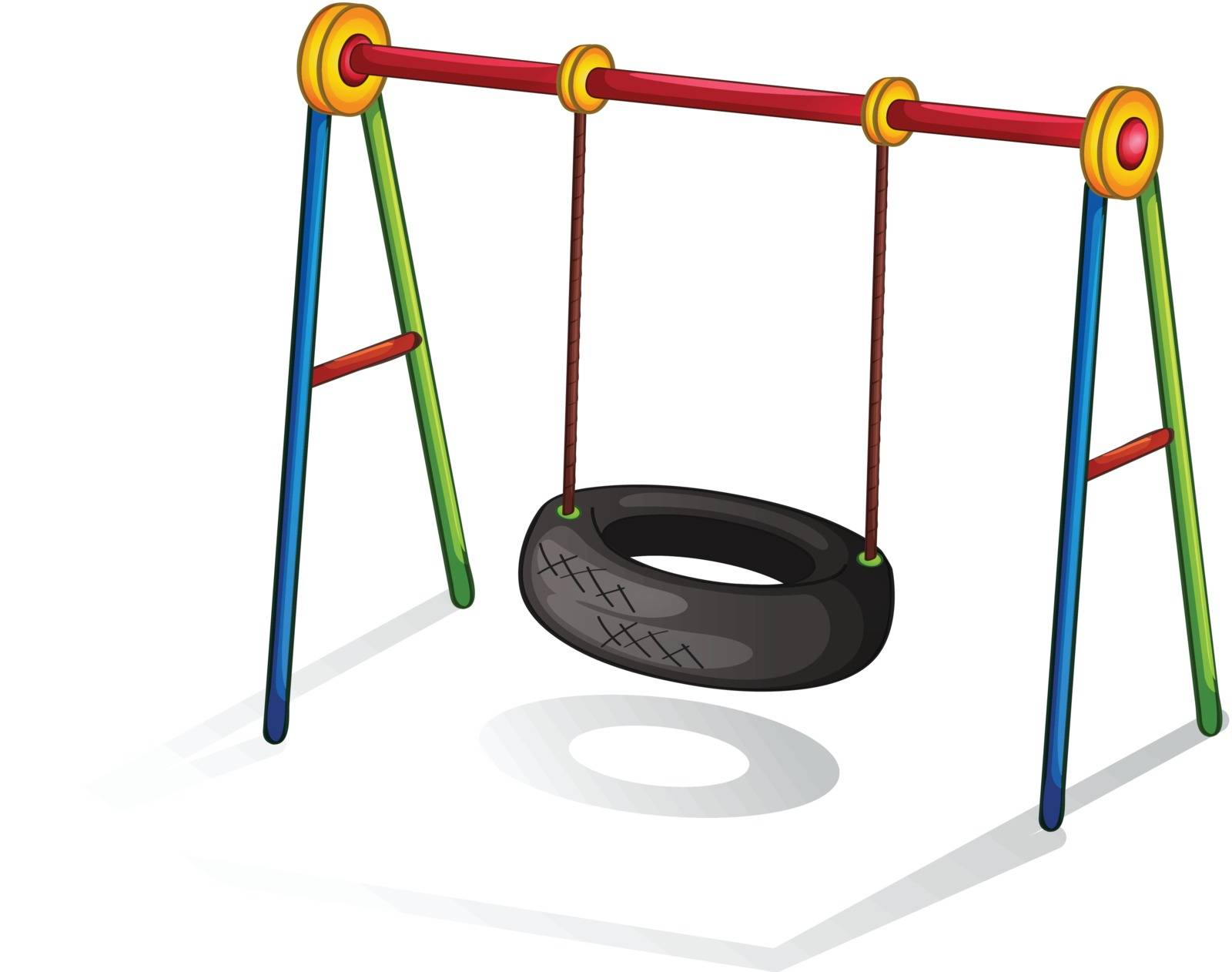 Isolated illustration of play equipment - tire swing