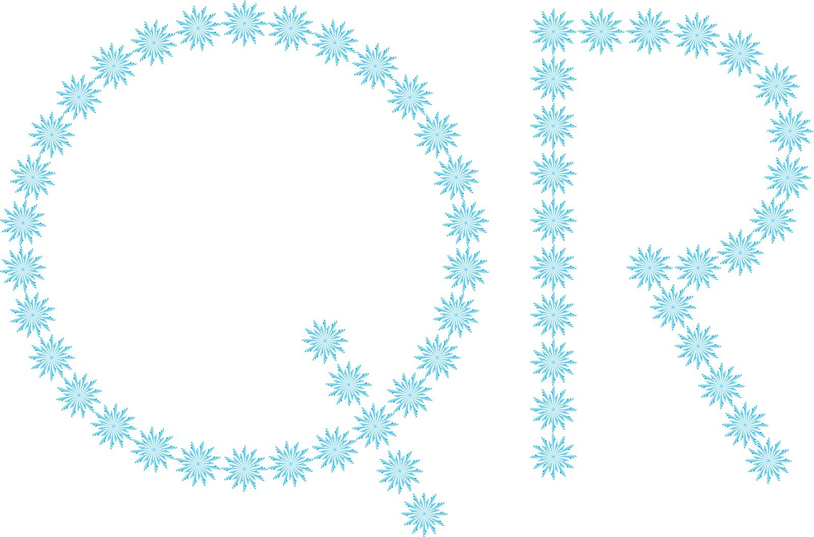 """illustration of the letter """"Q, R"""" formed by snowflakes"""