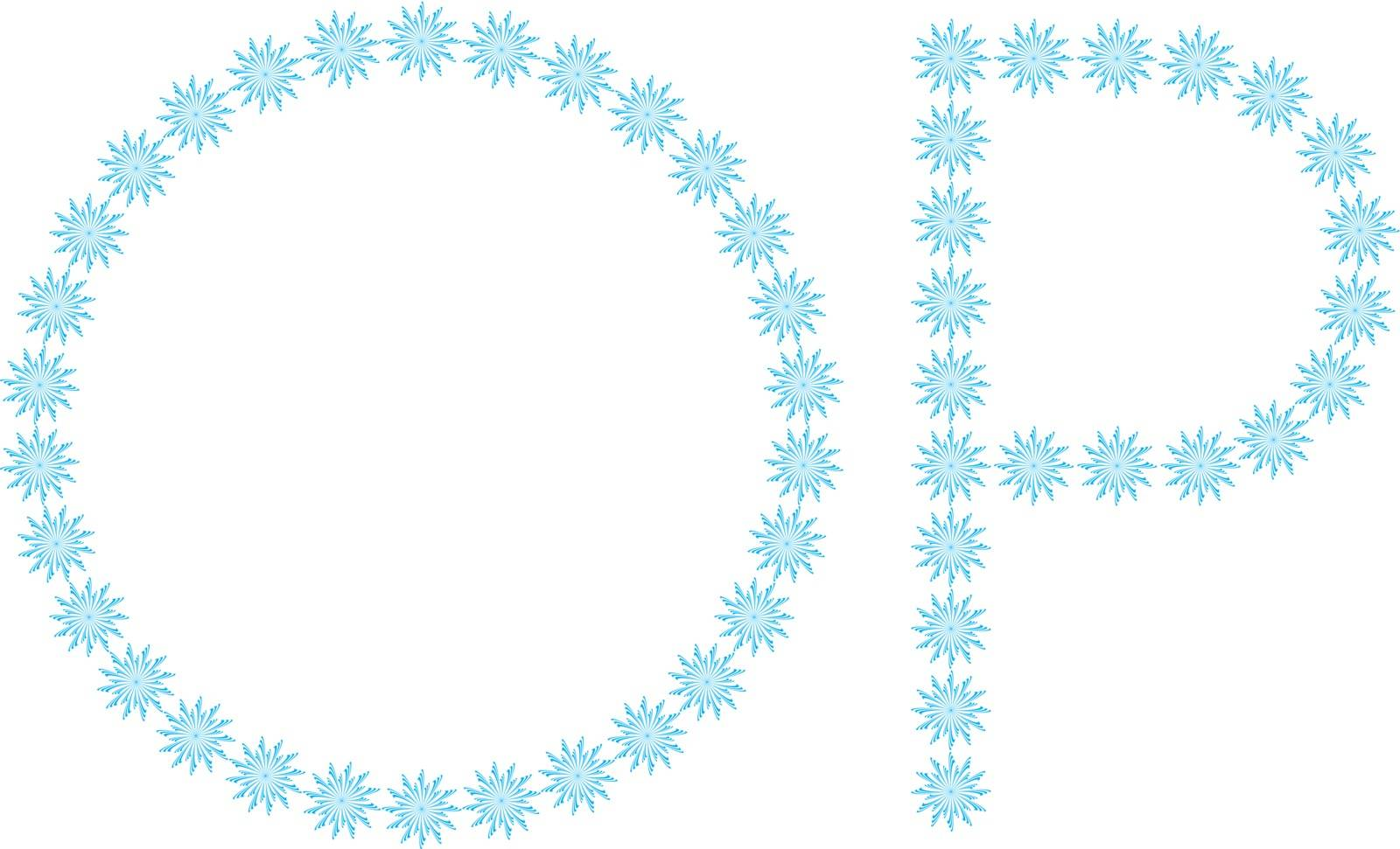 """illustration of the letter """"O,P"""" formed by snowflakes"""