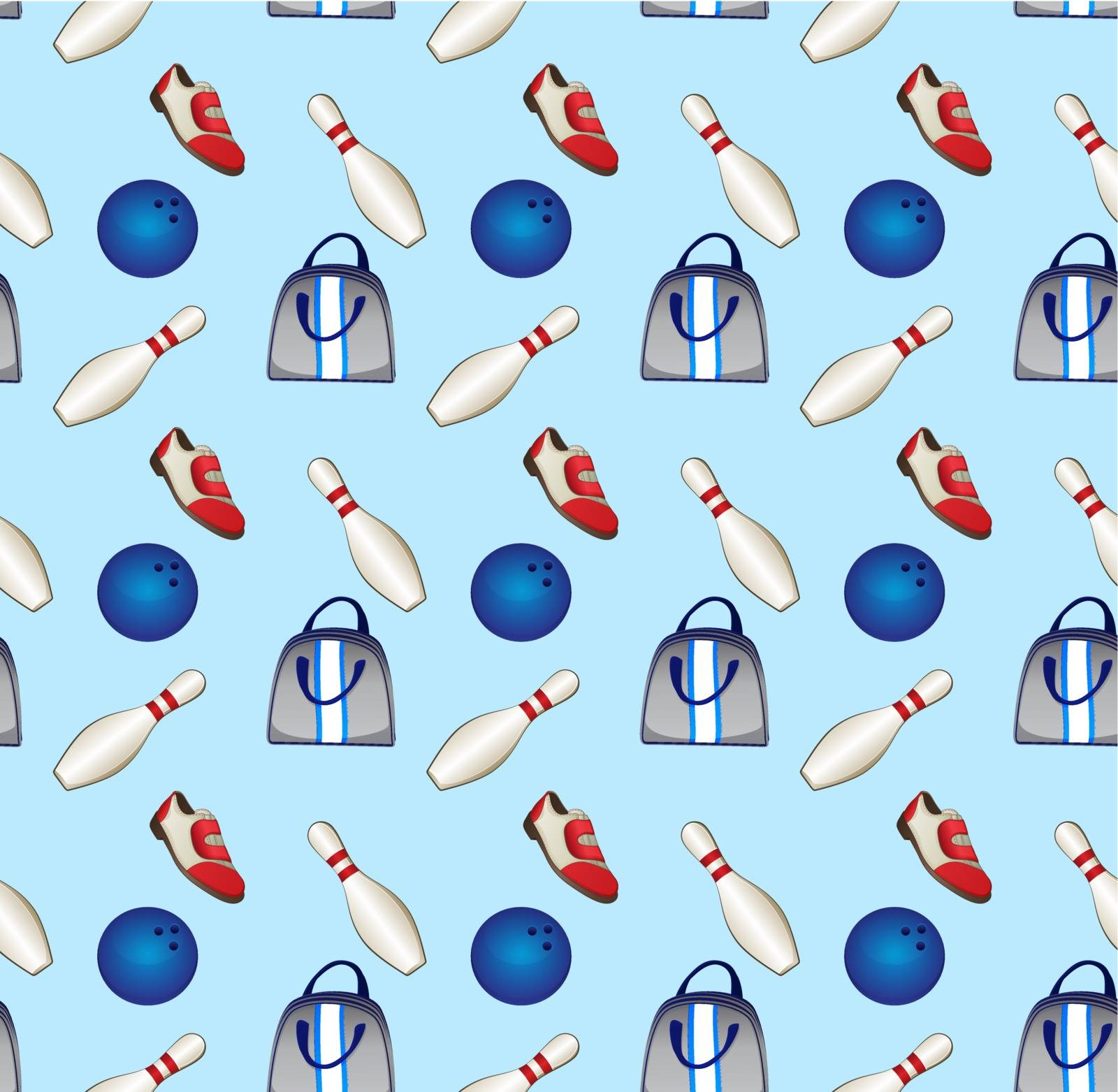 Bowling Equipment Icons Pattern