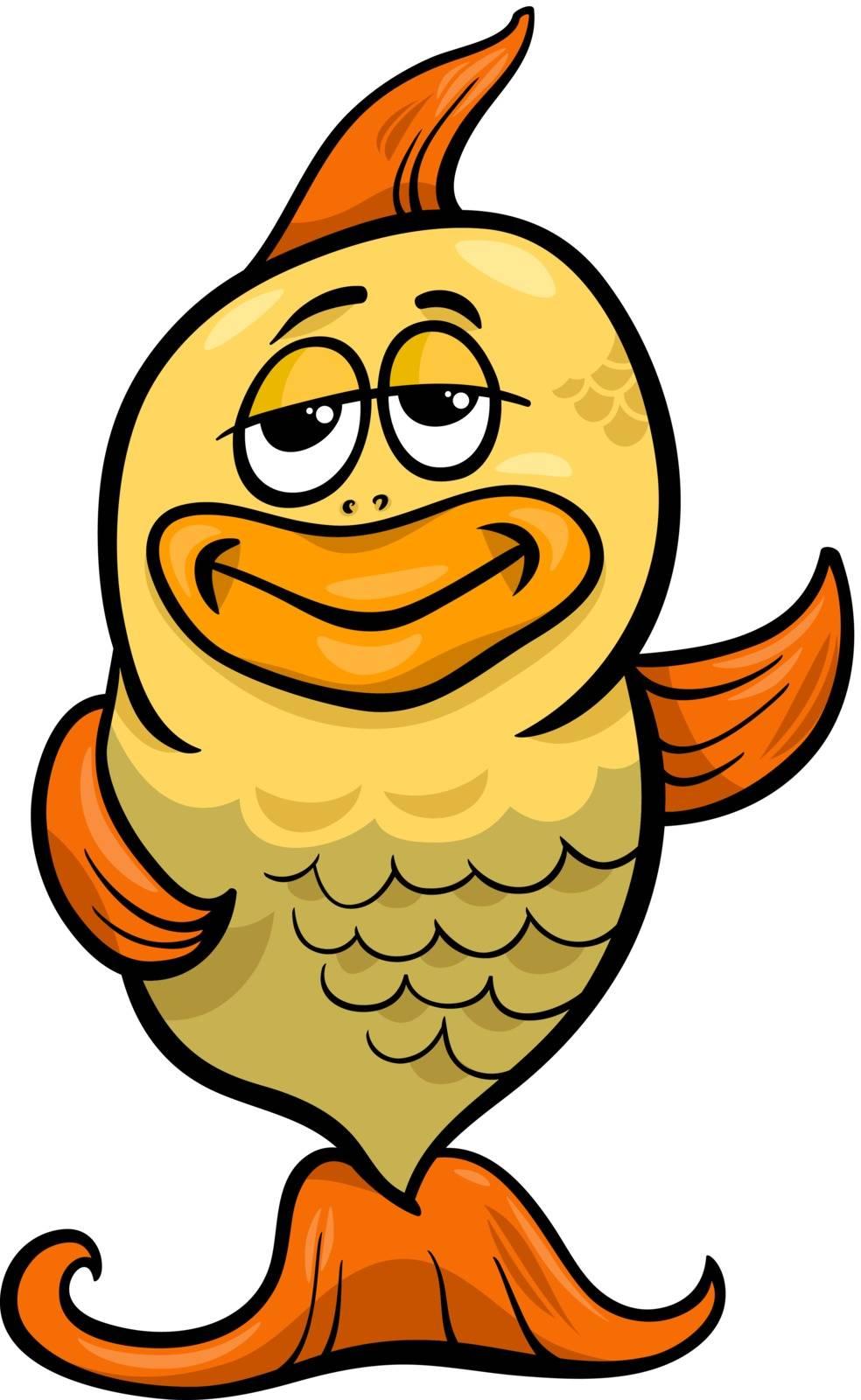 Cartoon Illustration of Funny Gold Fish Character