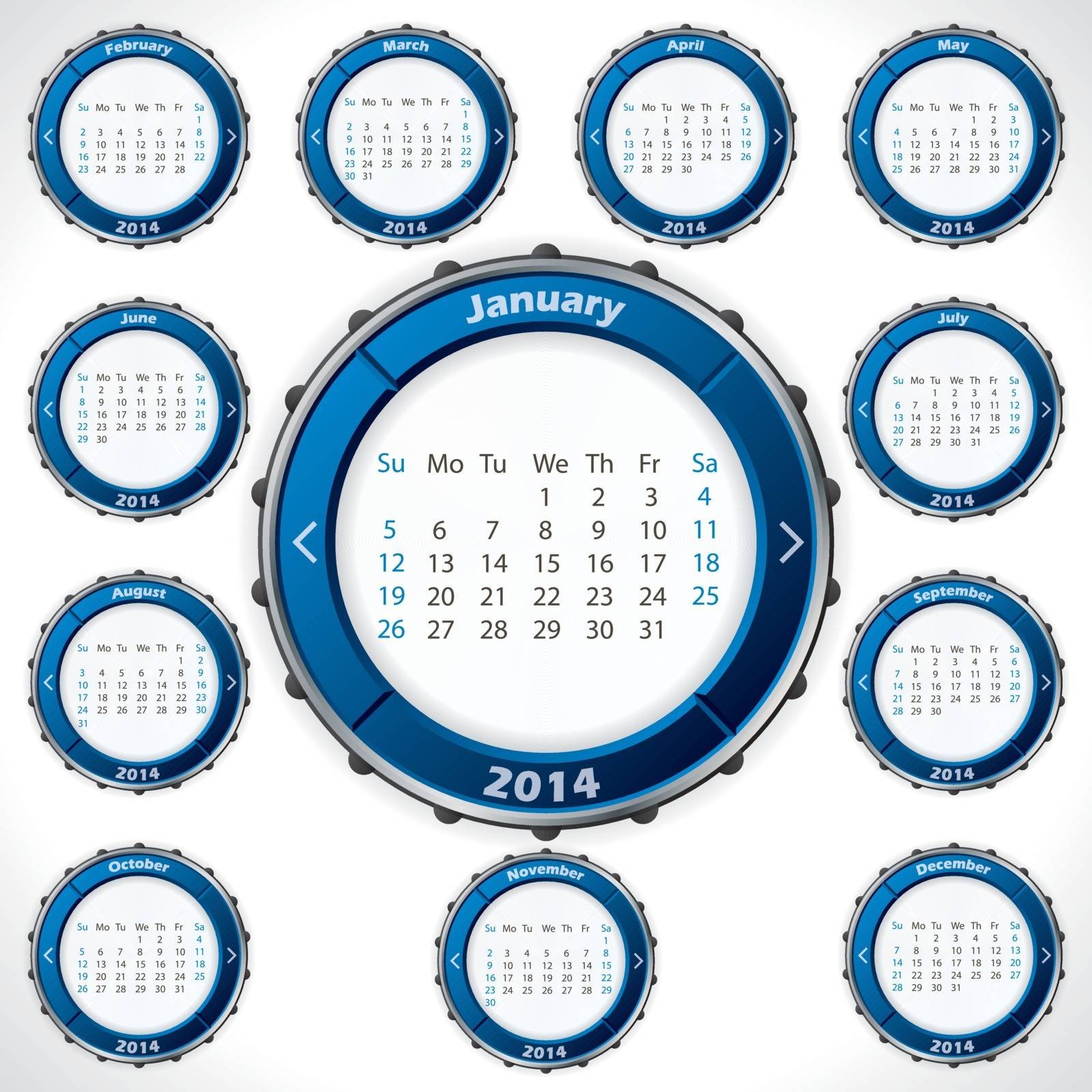 Unusual and rotateable 2014 calendar design with blue color