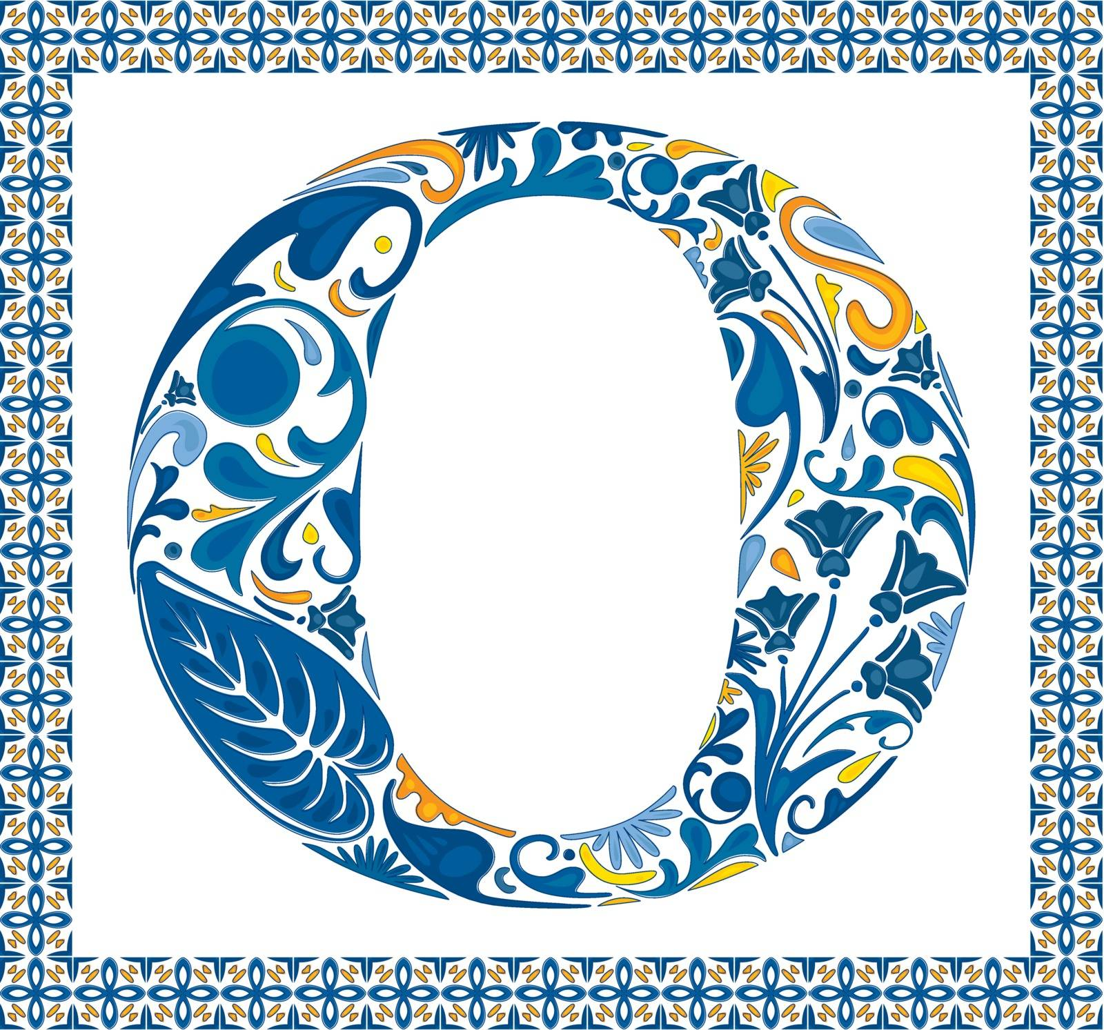 Blue floral capital letter O in frame made of Portuguese tiles