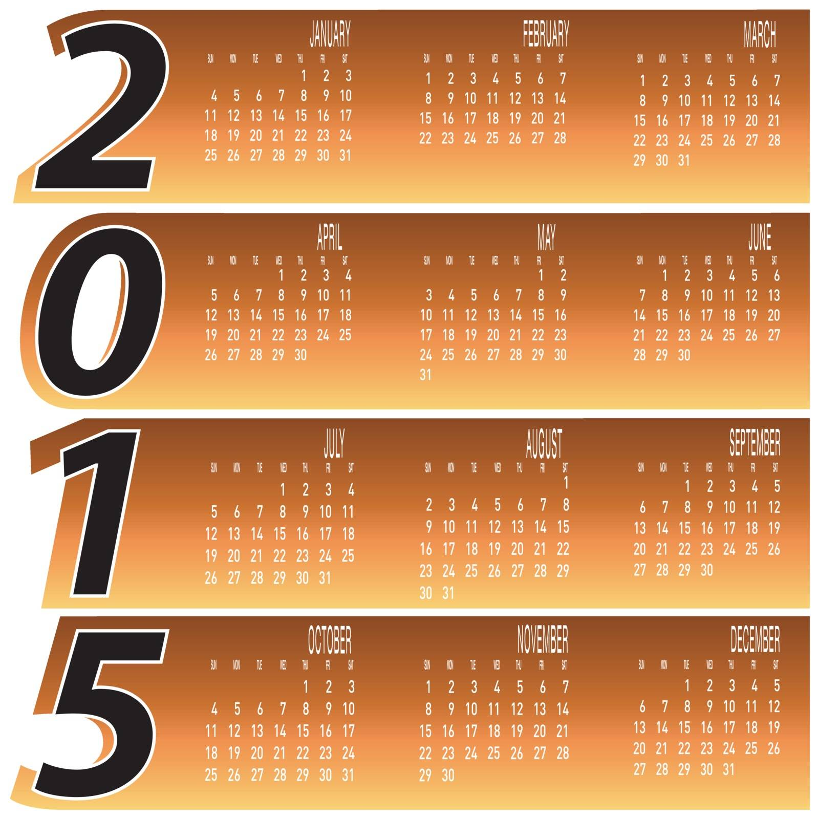 Daily Monthly Colorful Year 2015 Calendar vector.