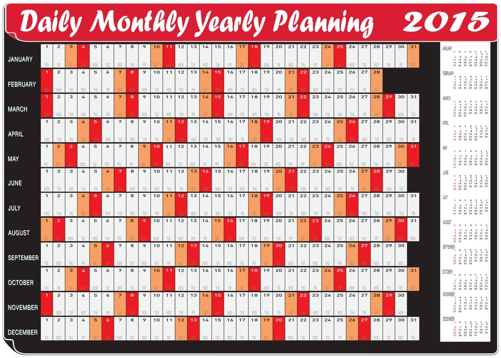 Vector of Planning Chart of Daily Monthly Yearly 2015.