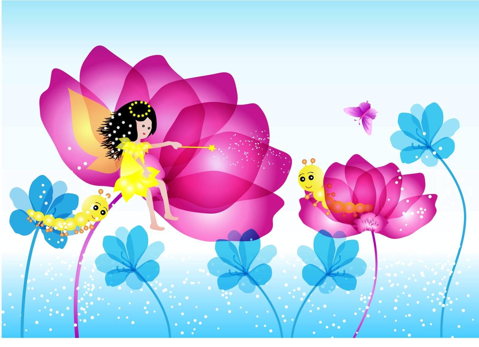 Cute little fairy sitting on a flowers