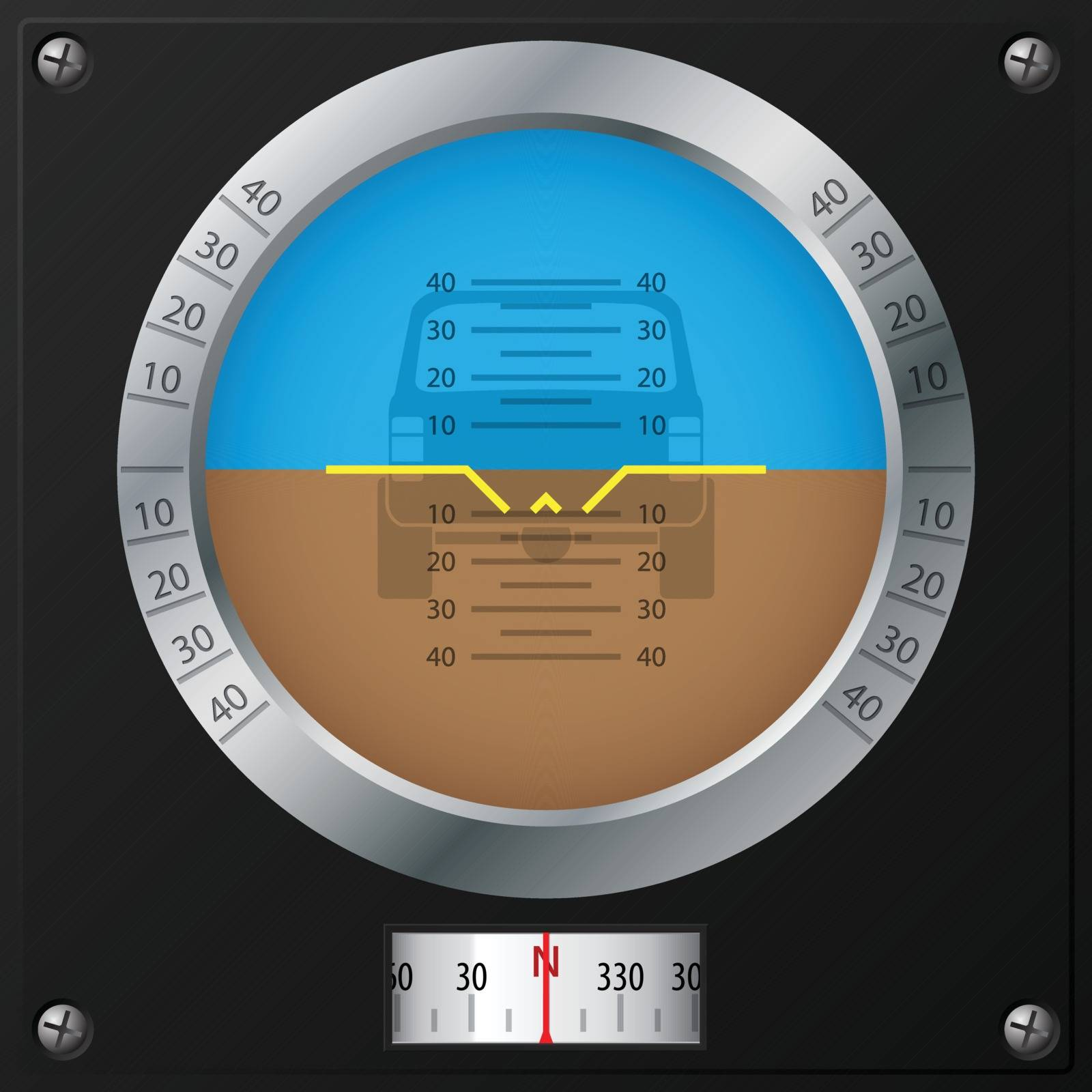 Attitude indicator design on screwed black plate for jeeps